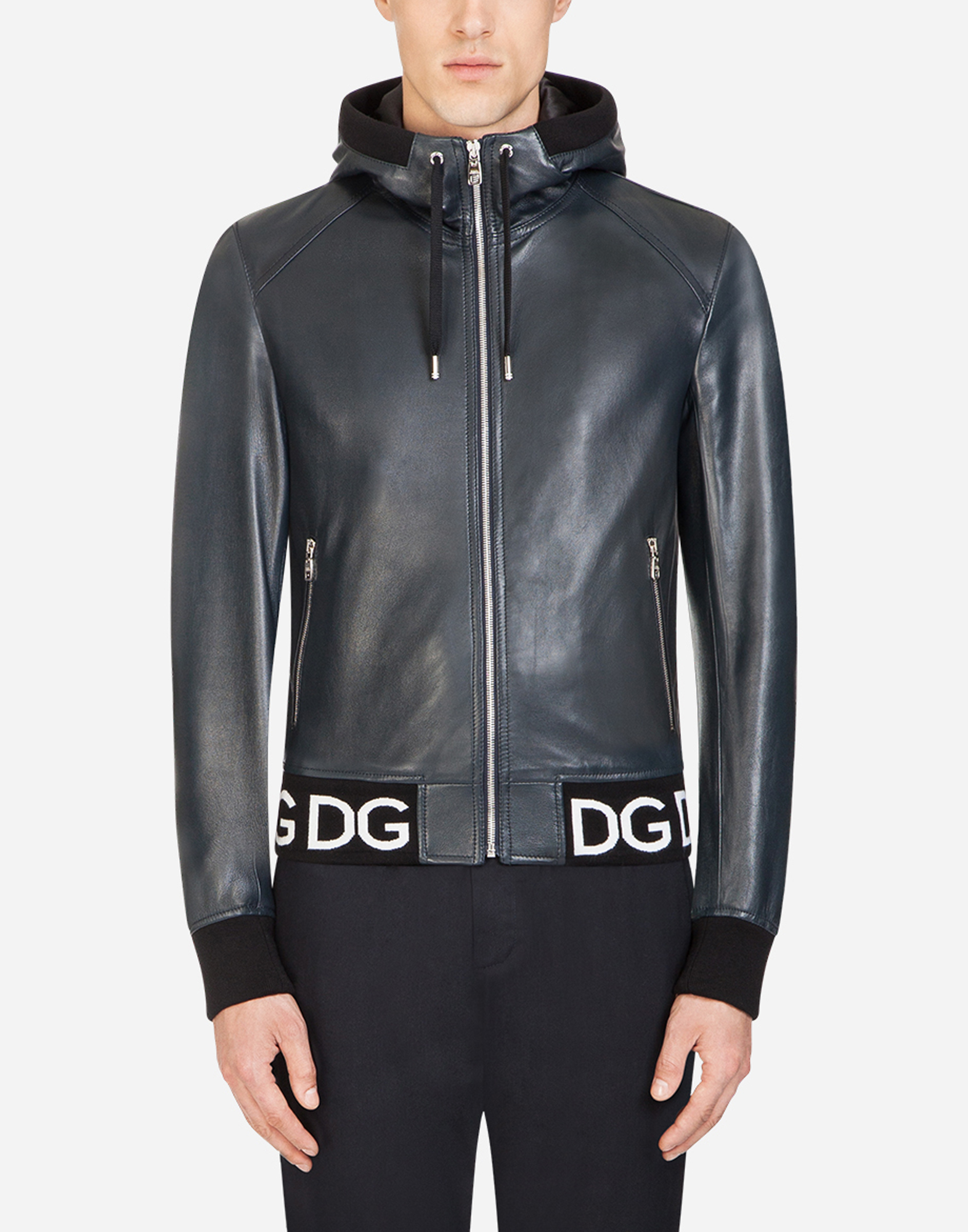 Dolce&Gabbana LEATHER JACKET WITH HOOD AND LOGO BAND