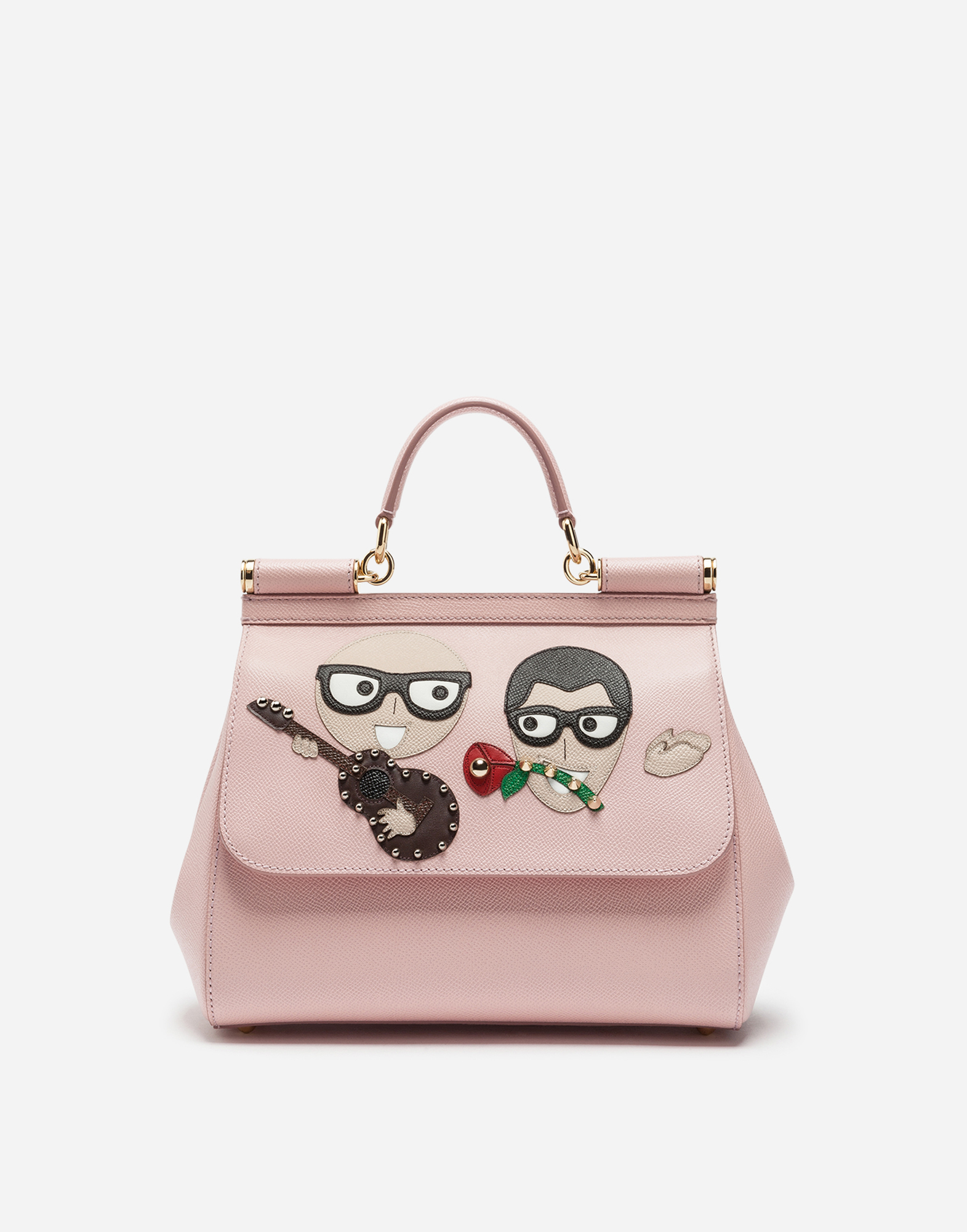 Dolce & Gabbana SICILY HANDBAG IN DAUPHINE CALFSKIN WITH DESIGNERS' PATCHES