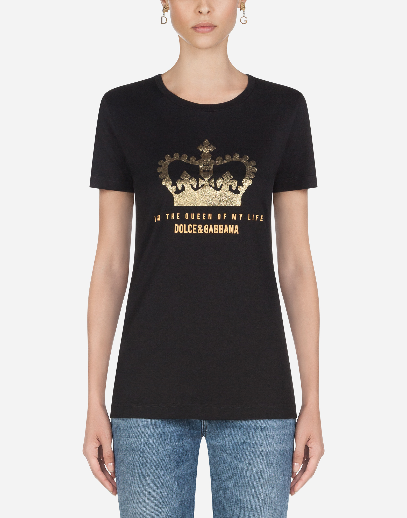 Dolce & Gabbana Glitter Crown Logo T-shirt In Black