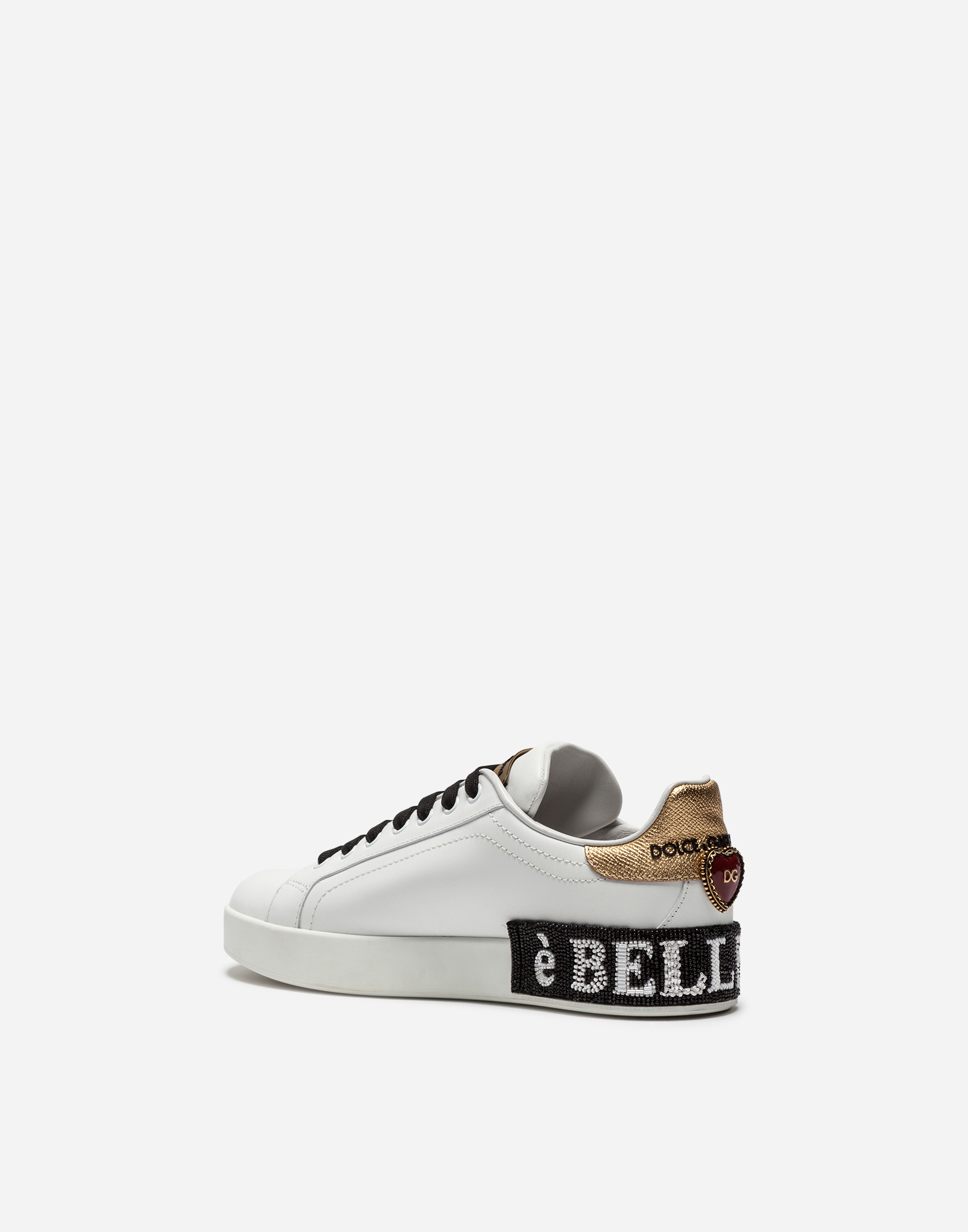 CALFSKIN SNEAKERS WITH EMBROIDERY AND APPLIQUÉS