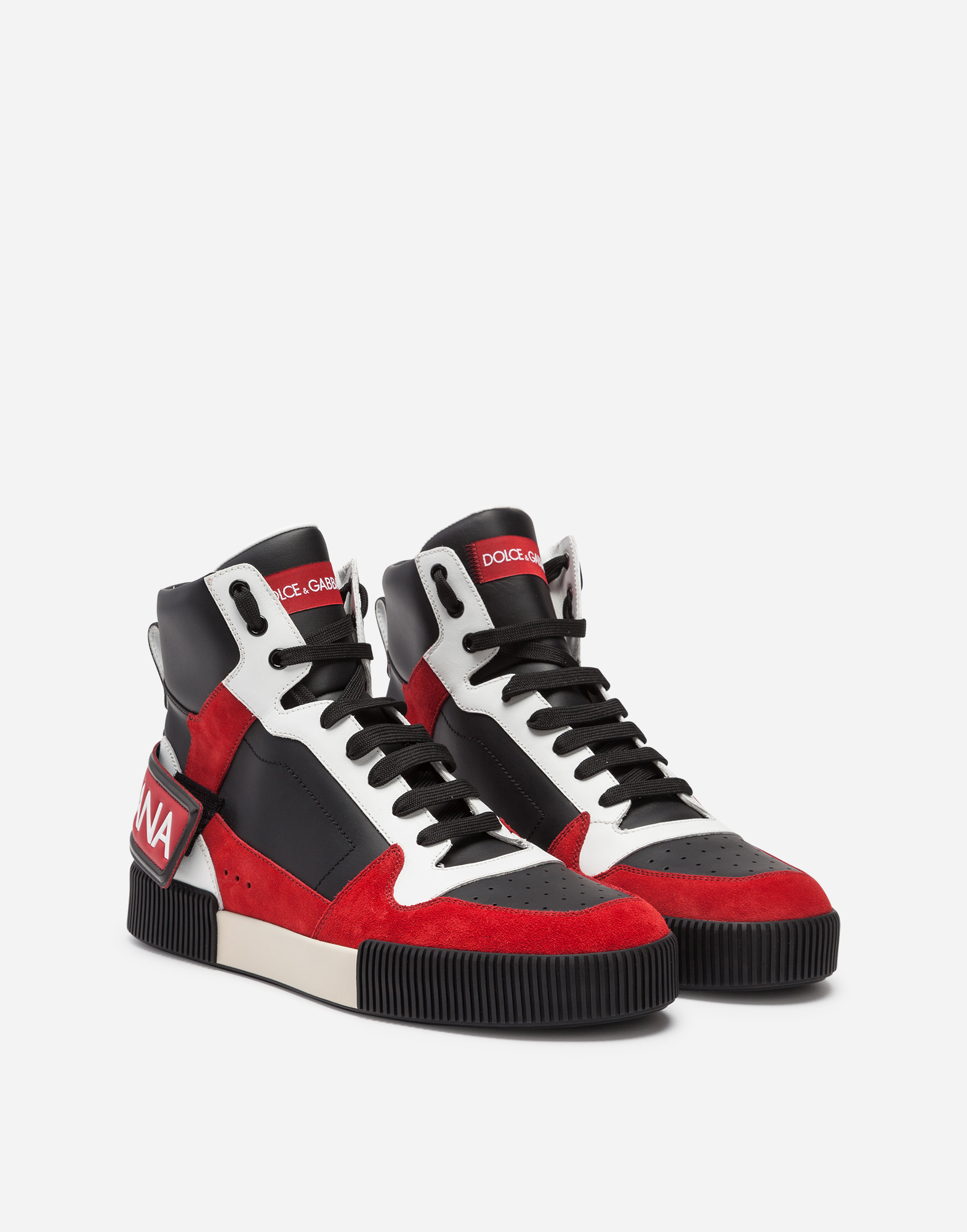 Dolce & Gabbana HIGH TOP SNEAKERS IN MIXED MATERIALS