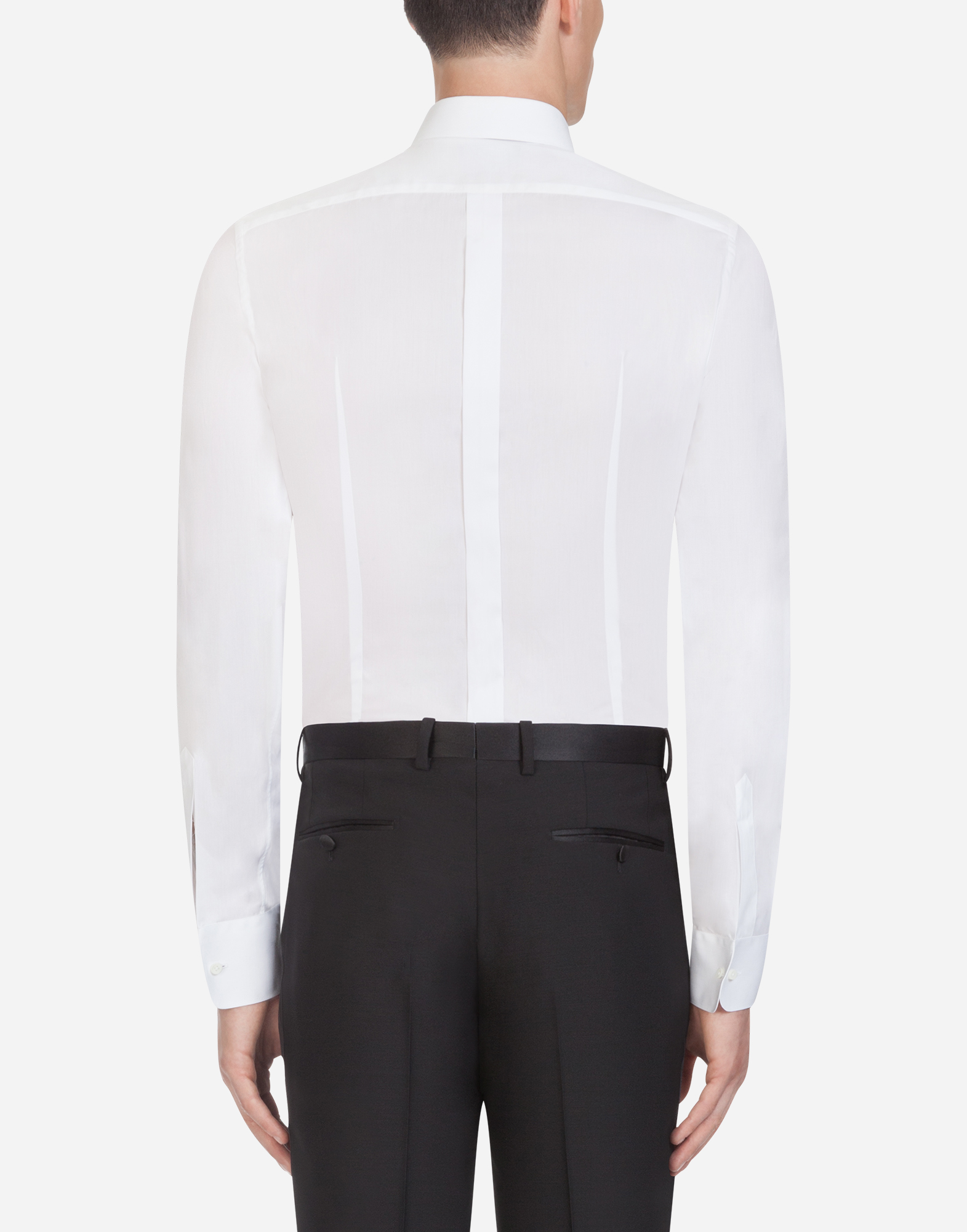 Dolce & Gabbana GOLD FIT TUXEDO SHIRT IN COTTON POPLIN
