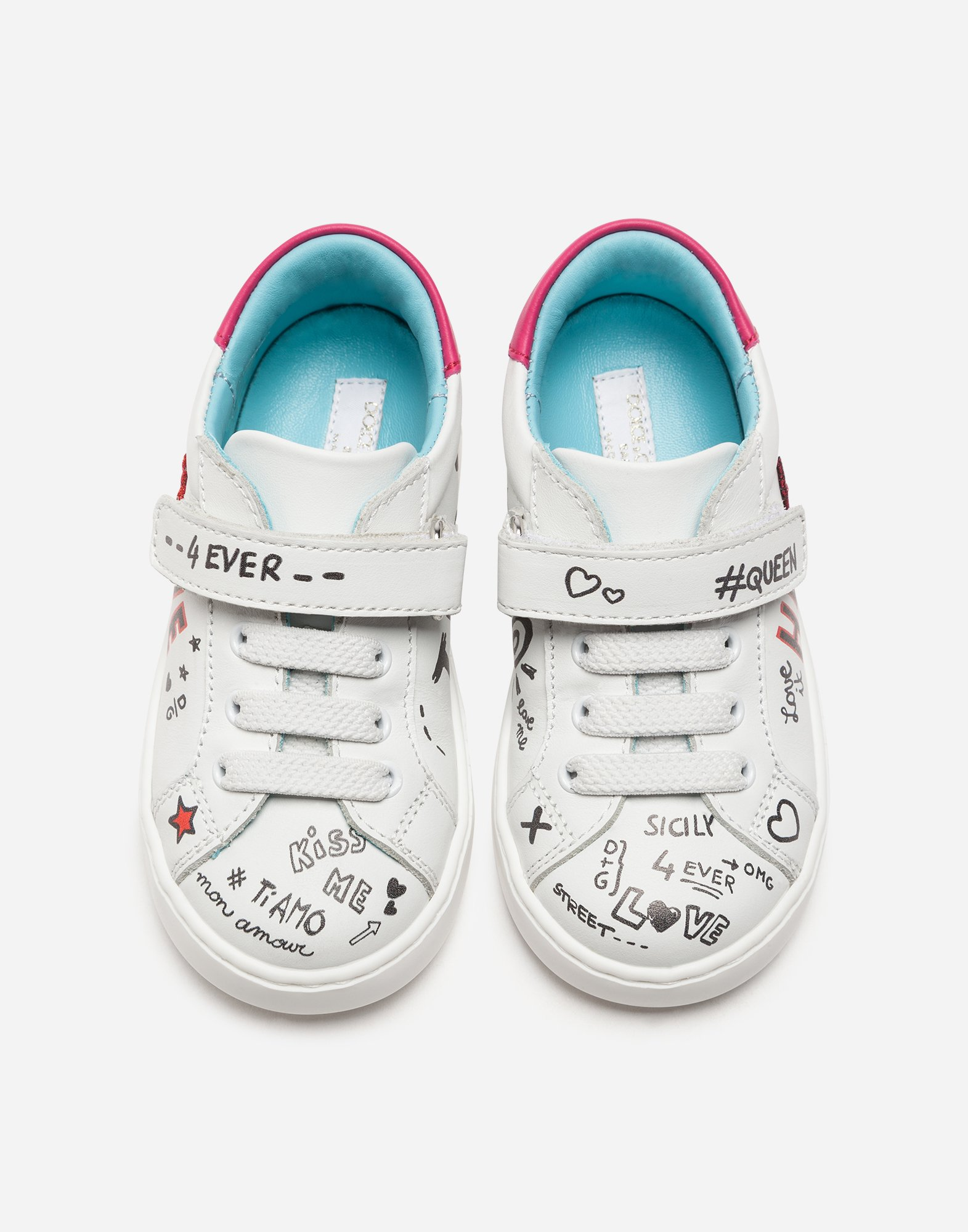 KID'S FIRST STEPS LEATHER SNEAKERS WITH PATCH