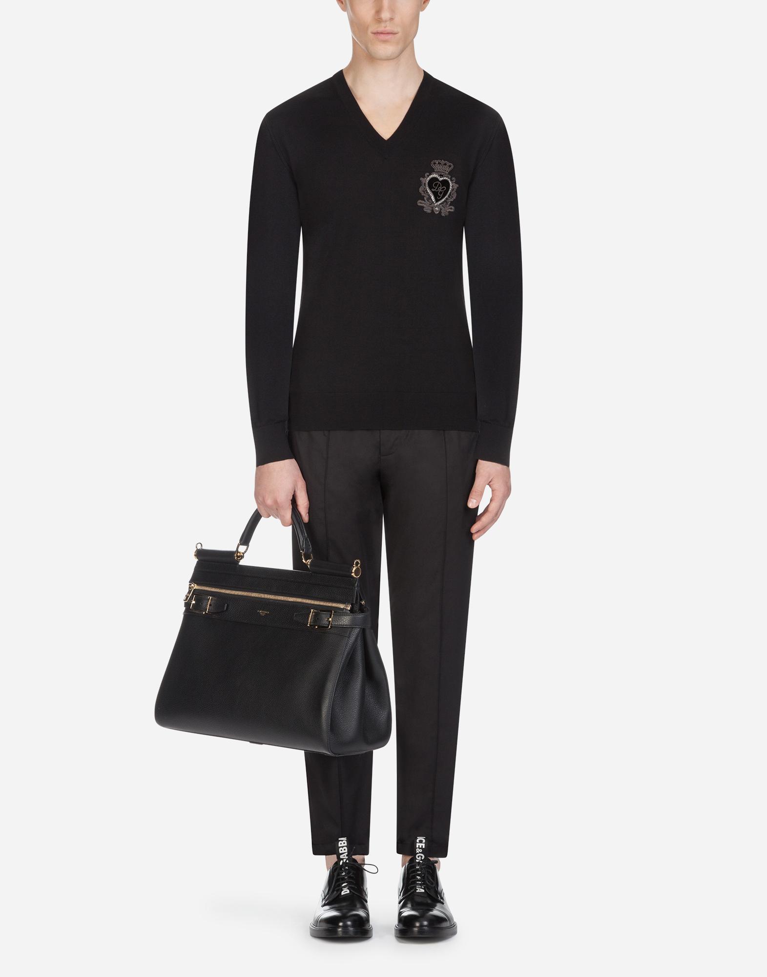 Dolce & Gabbana V-NECK WOOL KNIT WITH PATCH