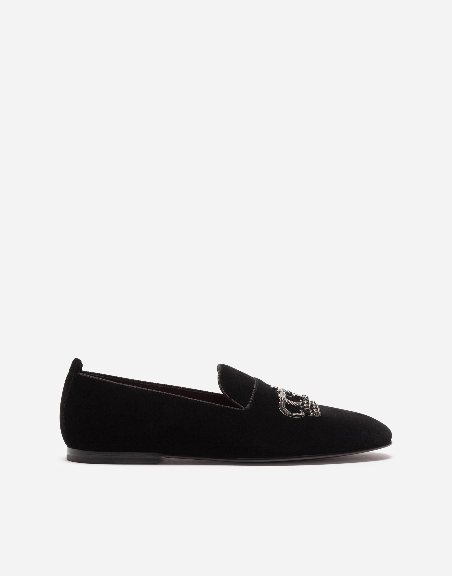 Dolce & Gabbana VELVET SLIPPERS WITH CROWN EMBROIDERY