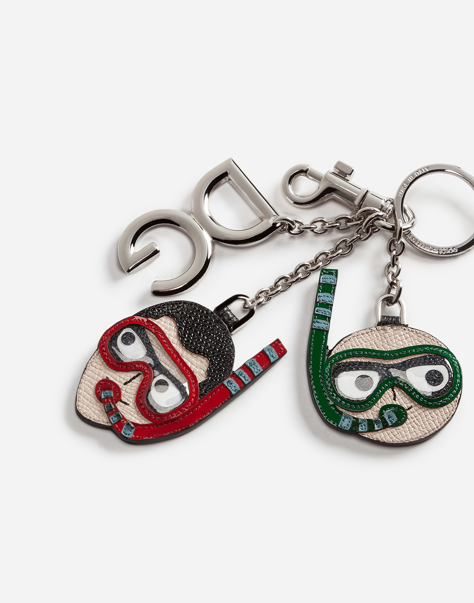 DAUPHINE CALFSKIN KEYCHAIN WITH DIVER-STYLE PATCHES OF THE DESIGNERS
