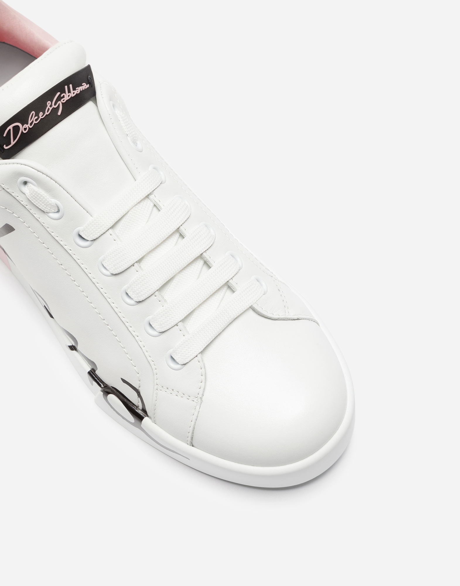 Dolce&Gabbana LEATHER PORTOFINO SNEAKERS WITH METALLIC HEEL
