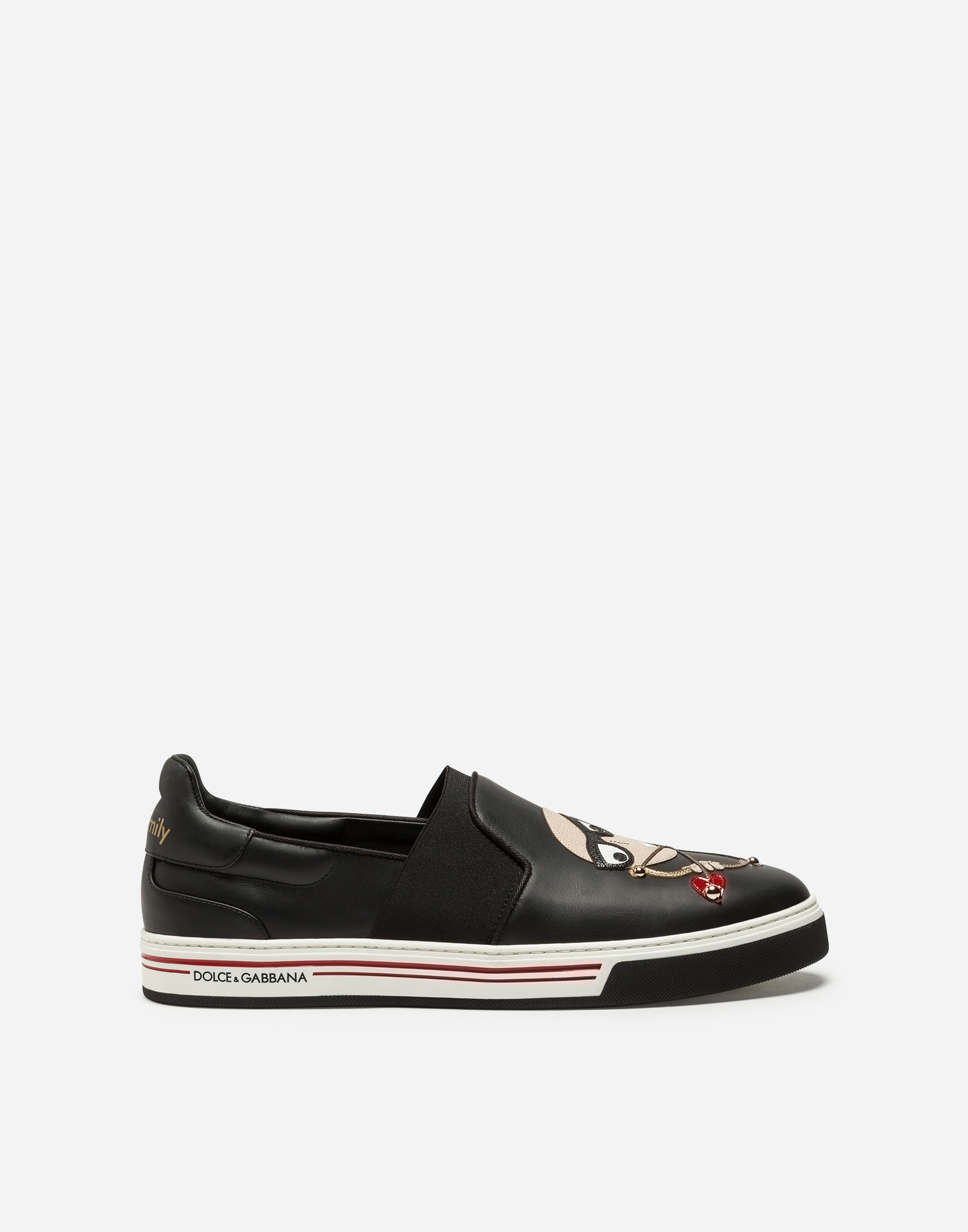 CALFSKIN NAPPA ROMA SLIP-ON SNEAKERS WITH DIVER-STYLE PATCHES OF THE DESIGNERS