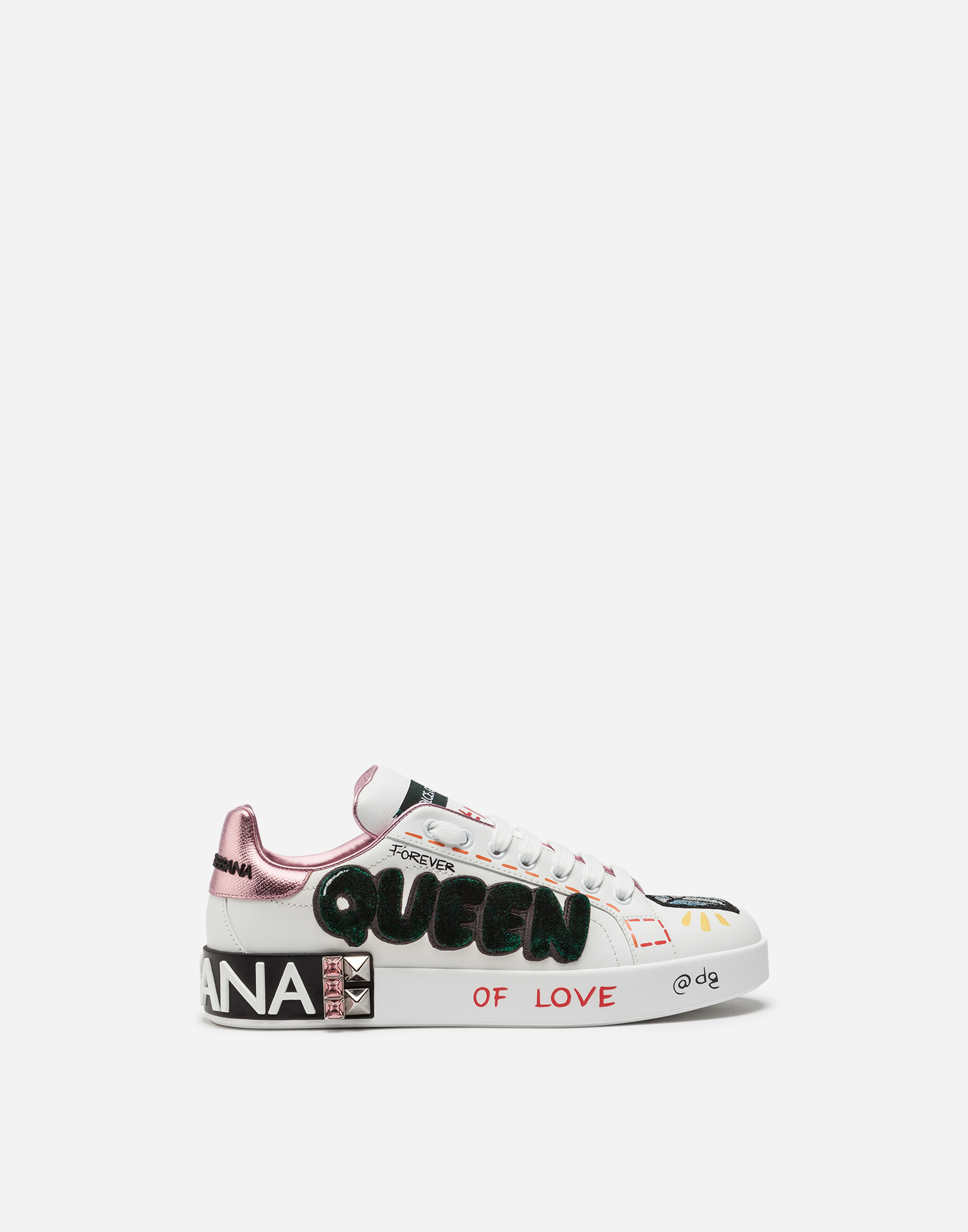 Dolce&Gabbana PORTOFINO SNEAKERS IN PRINTED NAPPA CALFSKIN WITH PATCH AND APPLICATIONS