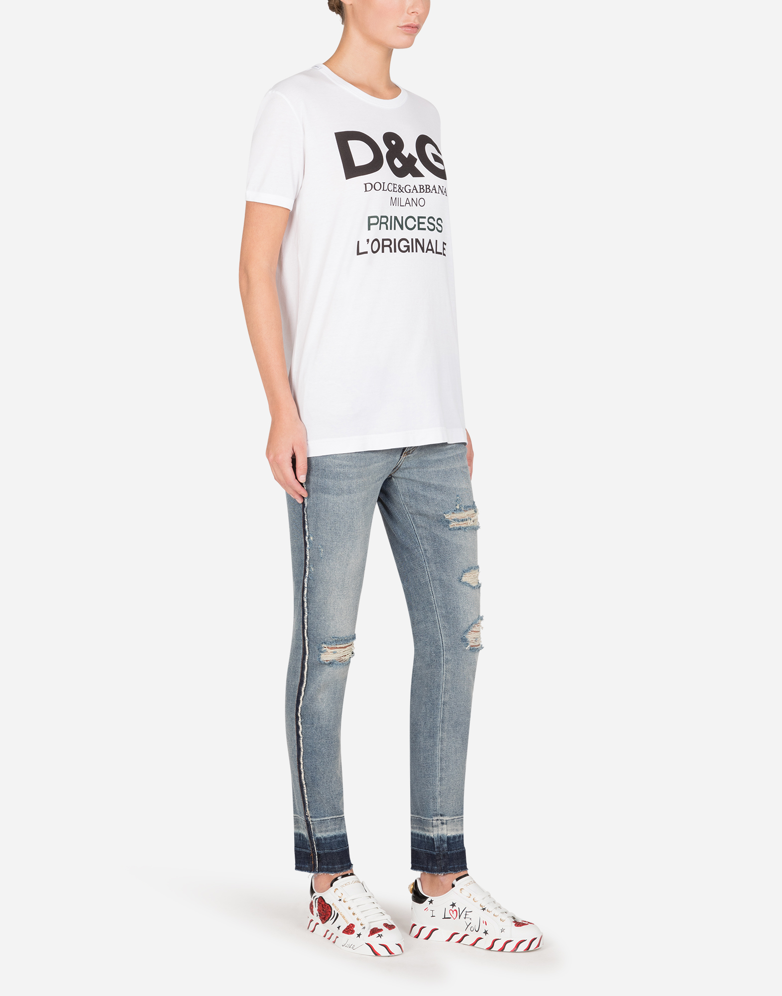 Printed Cotton T Shirt Women Dolcegabbana
