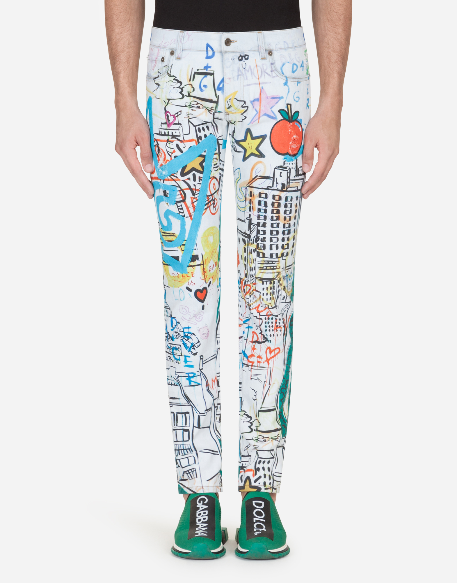 Dolce&Gabbana PRINTED SKINNY FIT STRETCH JEANS