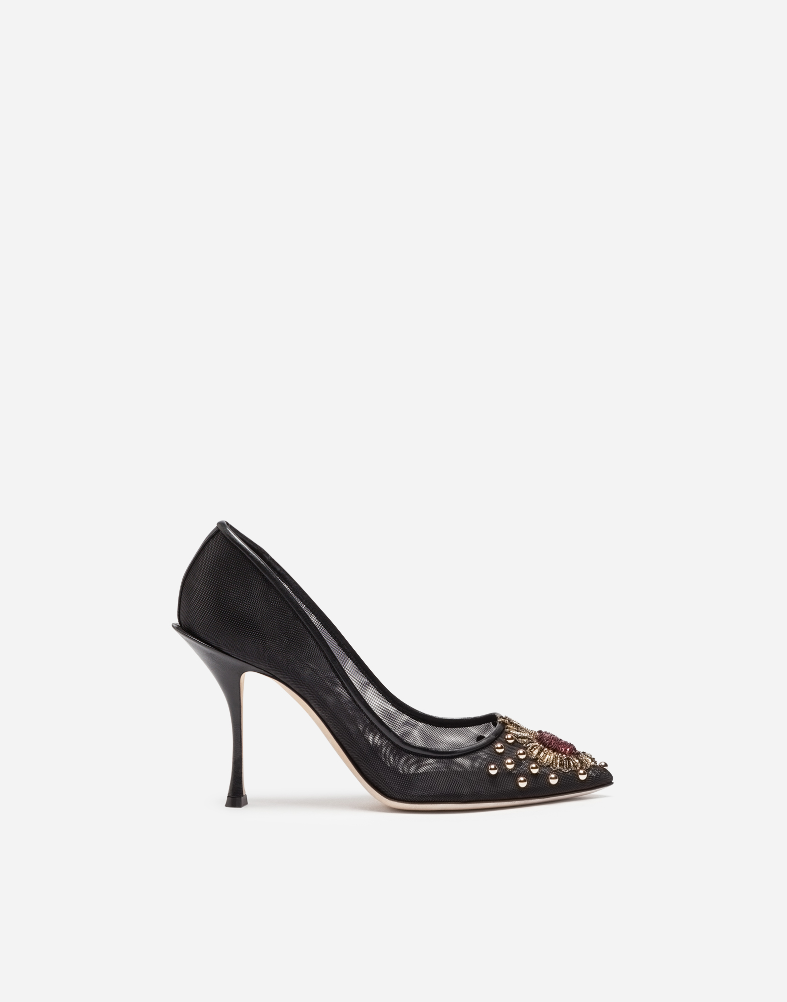 MESH PUMPS WITH EMBROIDERY AND APPLIQUÉS