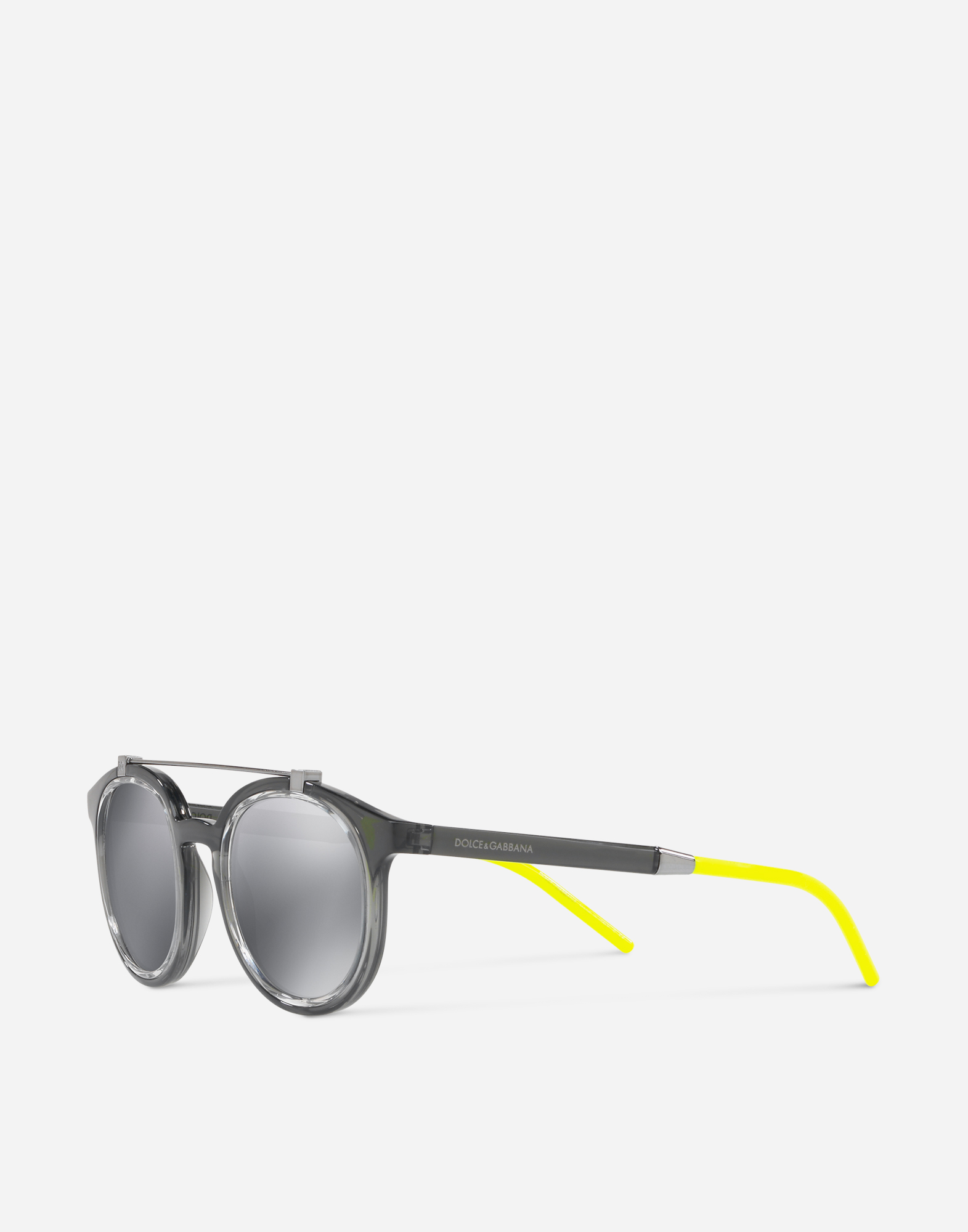 ROUND SUNGLASSES IN NYLON FIBER WITH DOUBLE BRIDGE