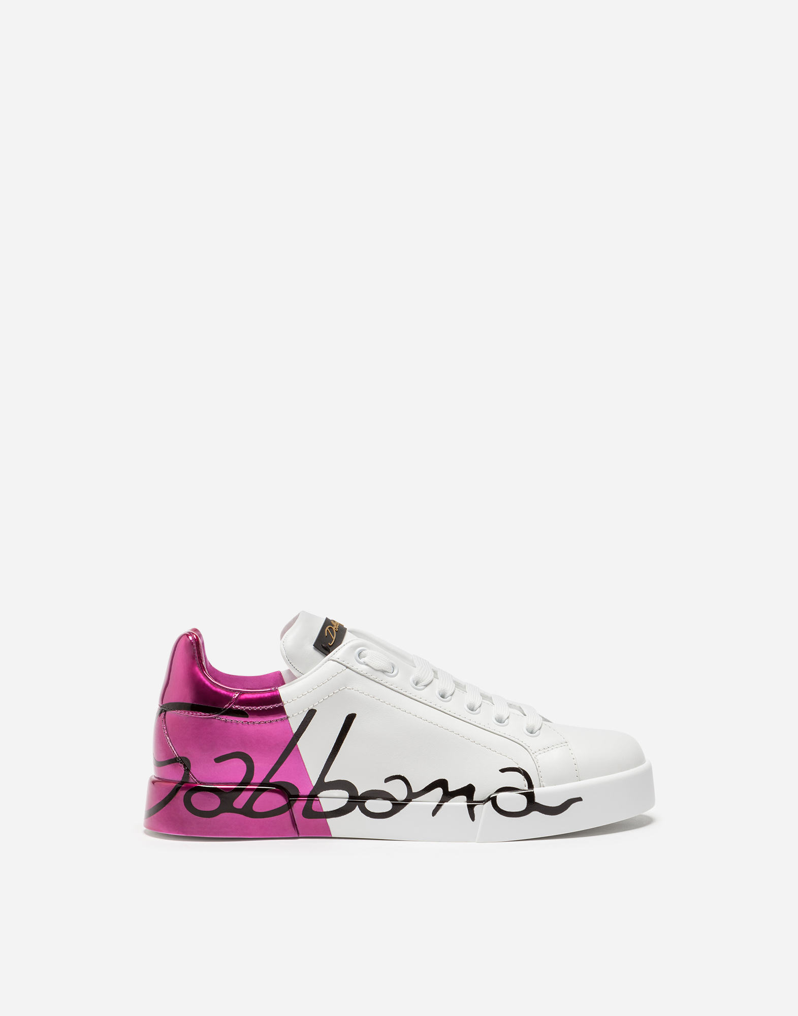 LEATHER PORTOFINO SNEAKERS WITH METALLIC HEEL