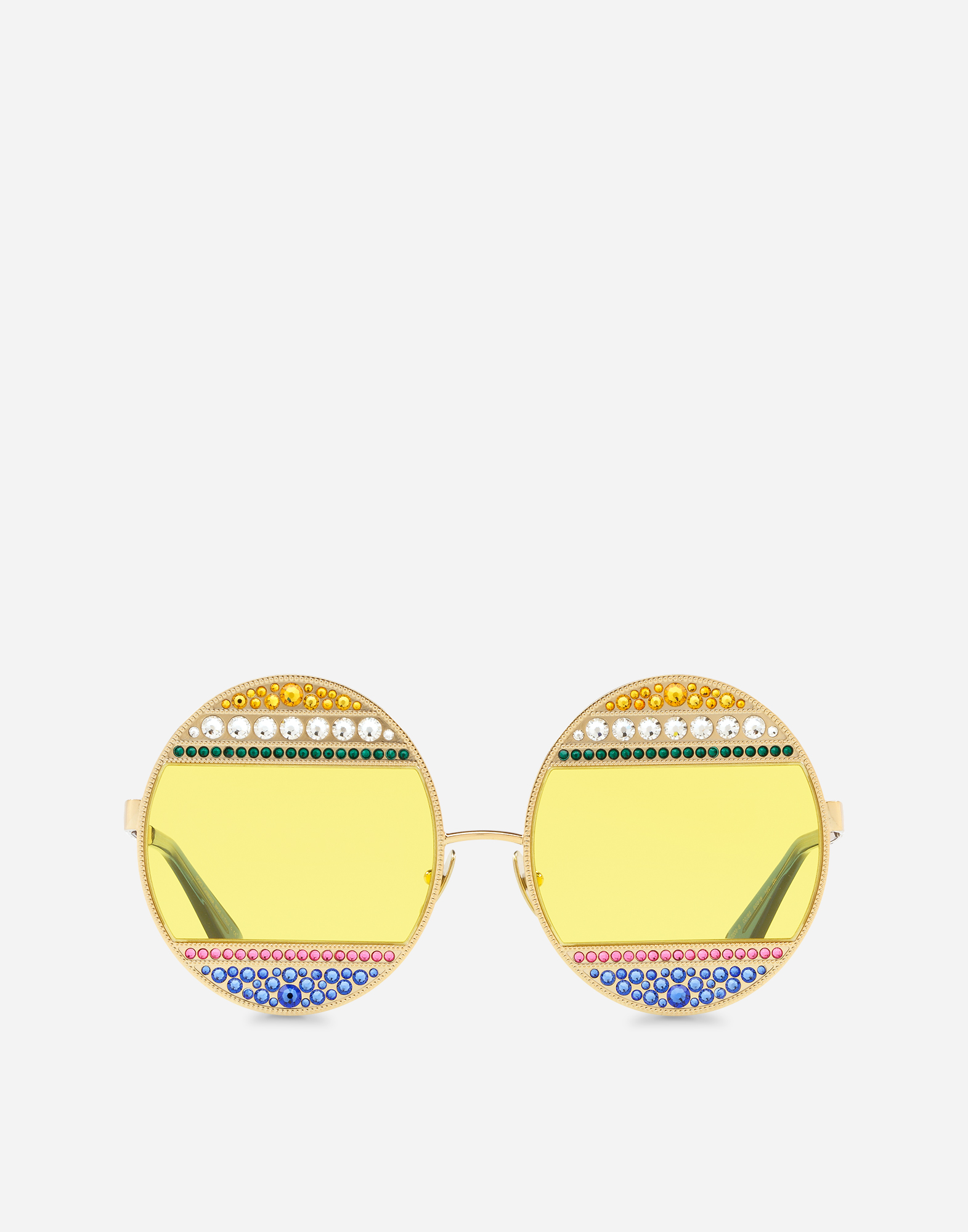 Dolce & Gabbana OVAL METAL SUNGLASSES WITH CRYSTALS