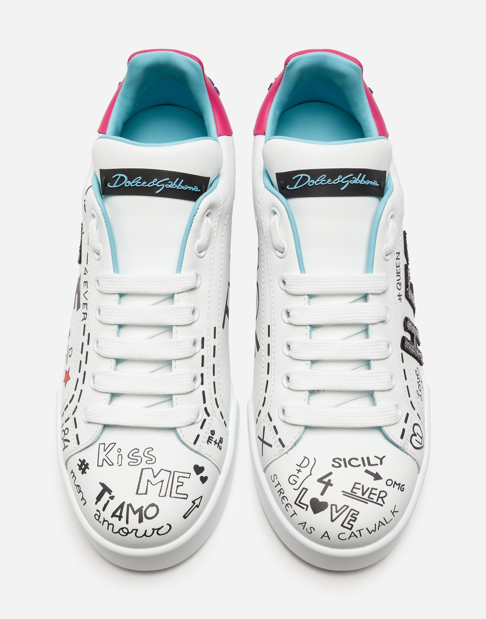 PRINTED CALFSKIN PORTOFINO SNEAKERS WITH PATCH