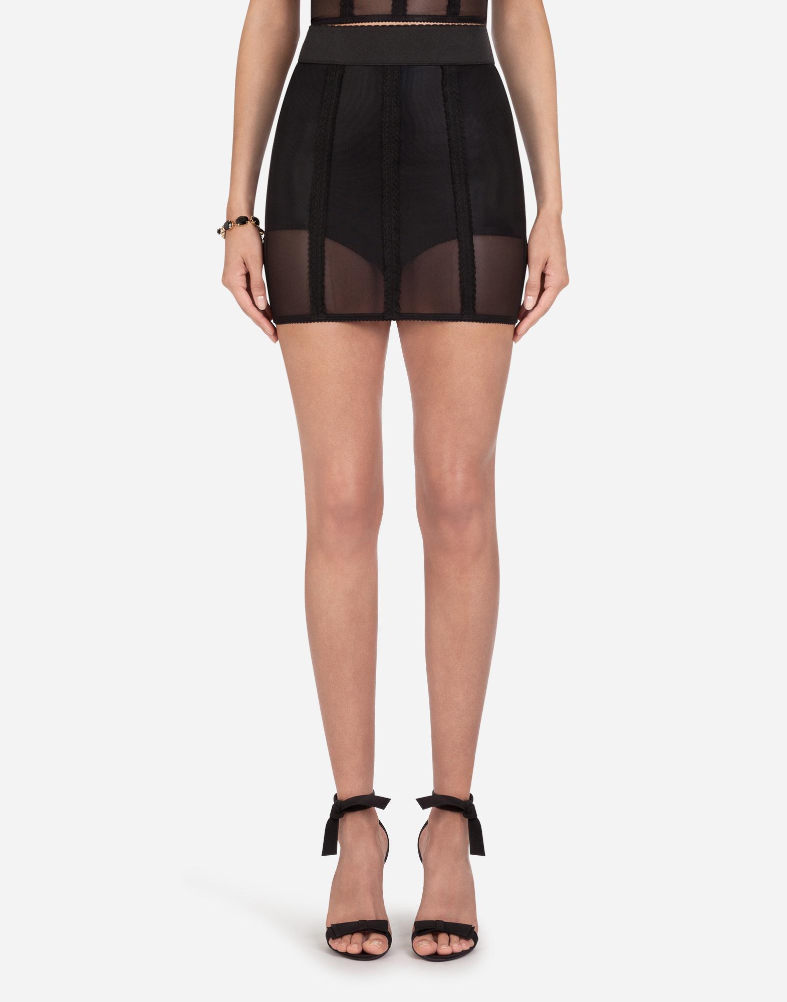 Dolce & Gabbana Short Corset Style Skirt In Elastic In Black
