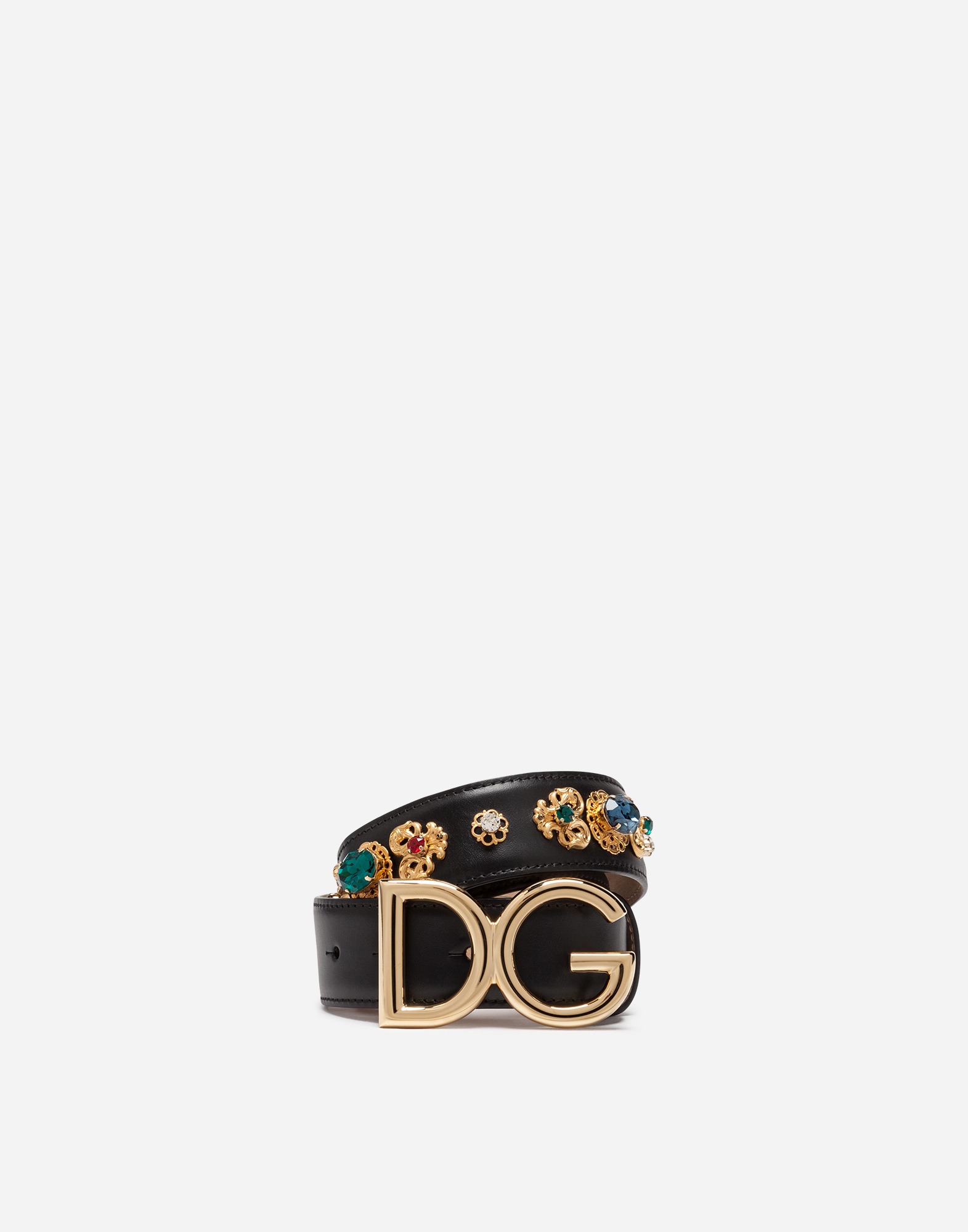 Dolce & Gabbana BELT IN LUX LEATHER WITH EMBROIDERIES