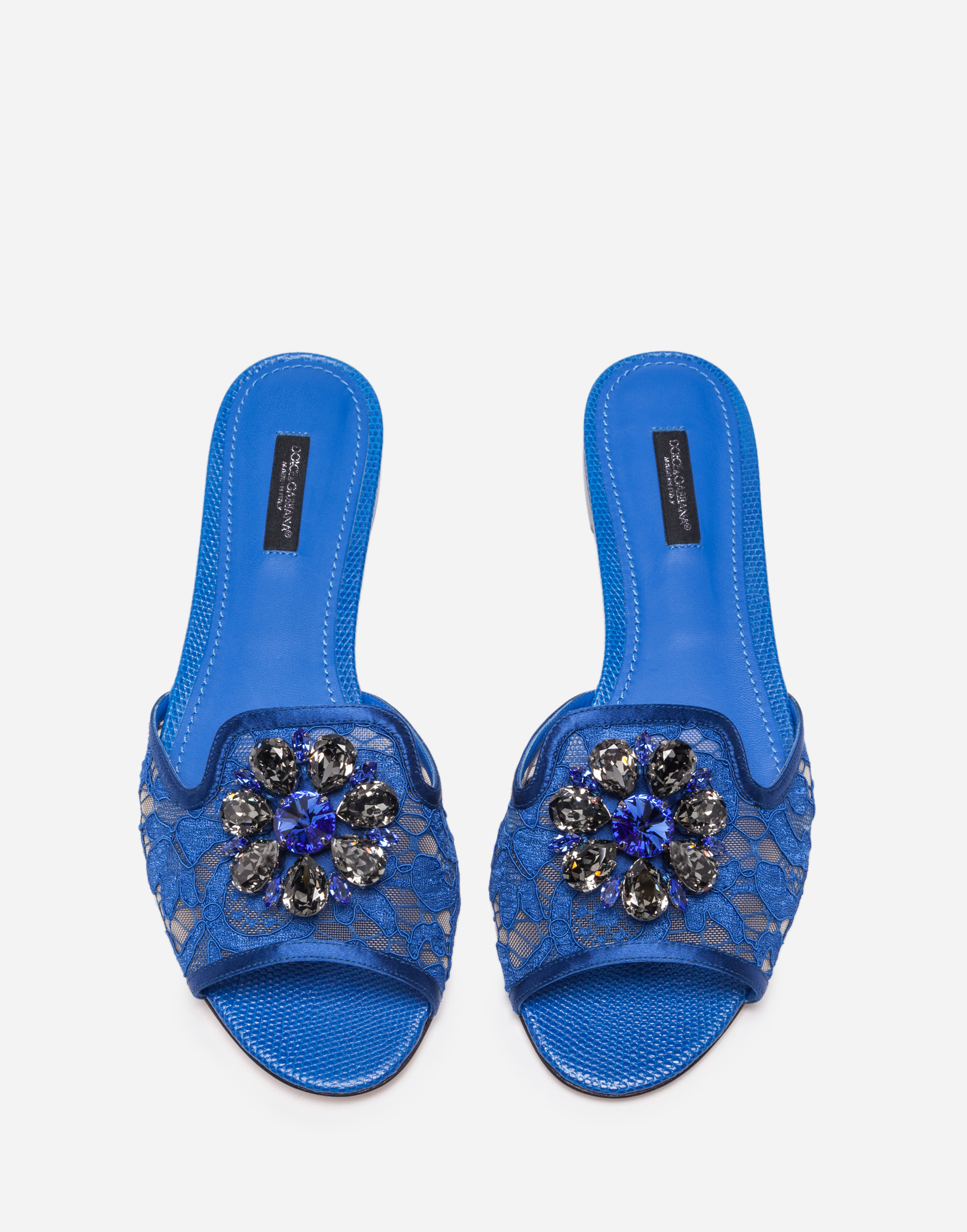 LACE SLIDERS WITH CRYSTALS