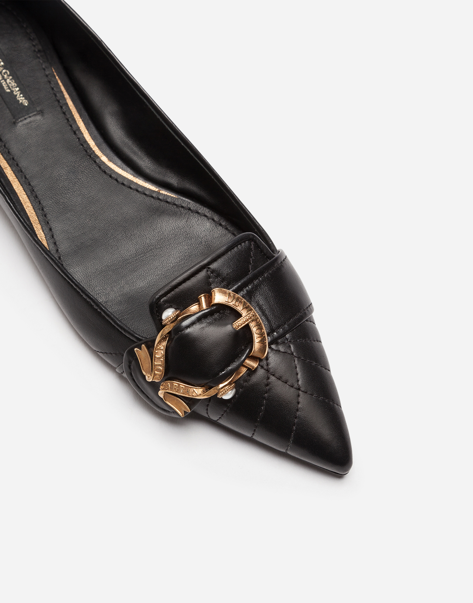 Dolce & Gabbana DEVOTION BALLET FLATS IN MATELASSÉ NAPPA LEATHER