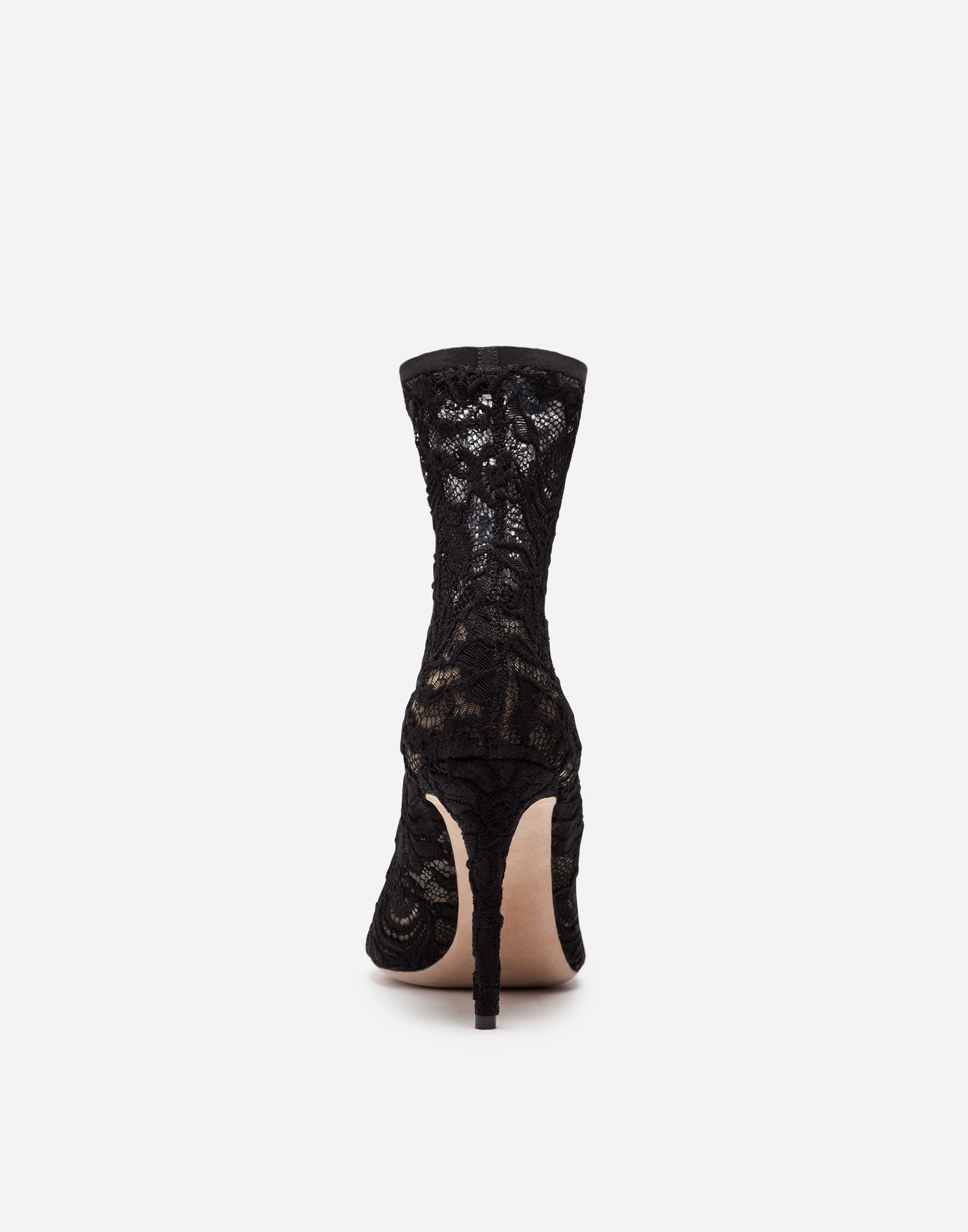 Dolce & Gabbana ANKLE BOOT IN STRETCH LACE AND GROS GRAIN