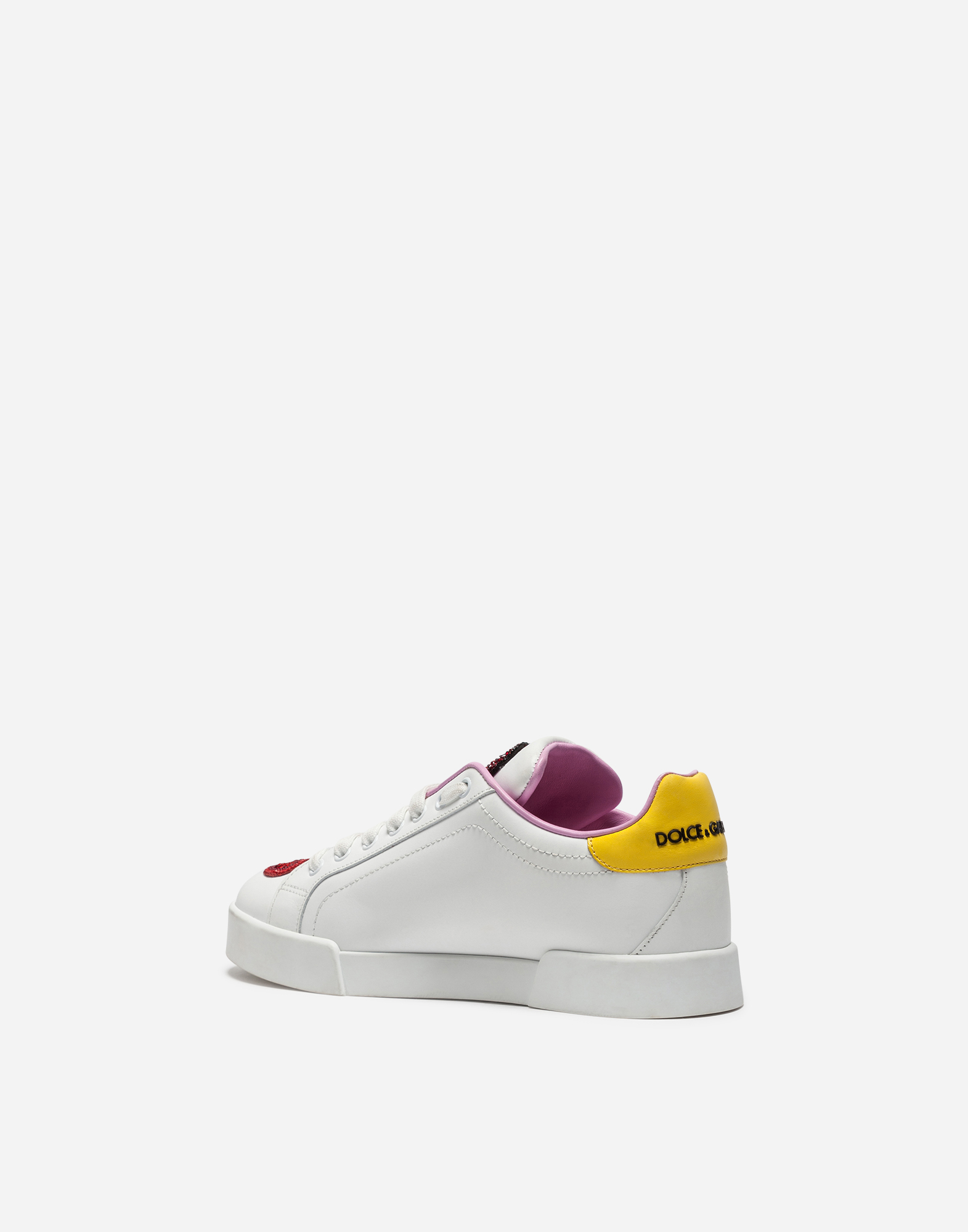 CALFSKIN PORTOFINO SNEAKERS WITH PATCHES AND EMBROIDERY