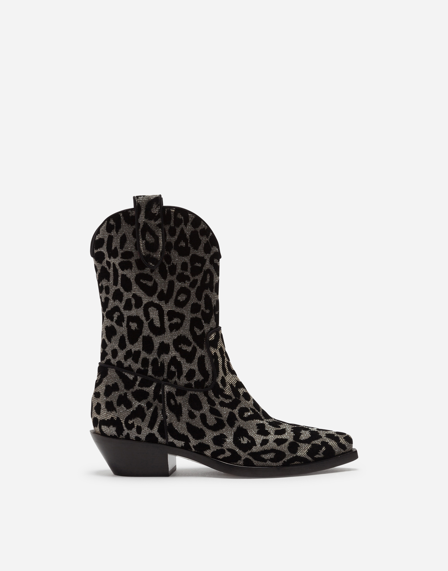 Dolce & Gabbana GAUCHO BOOTS IN COLOR-CHANGING LEOPARD FABRIC