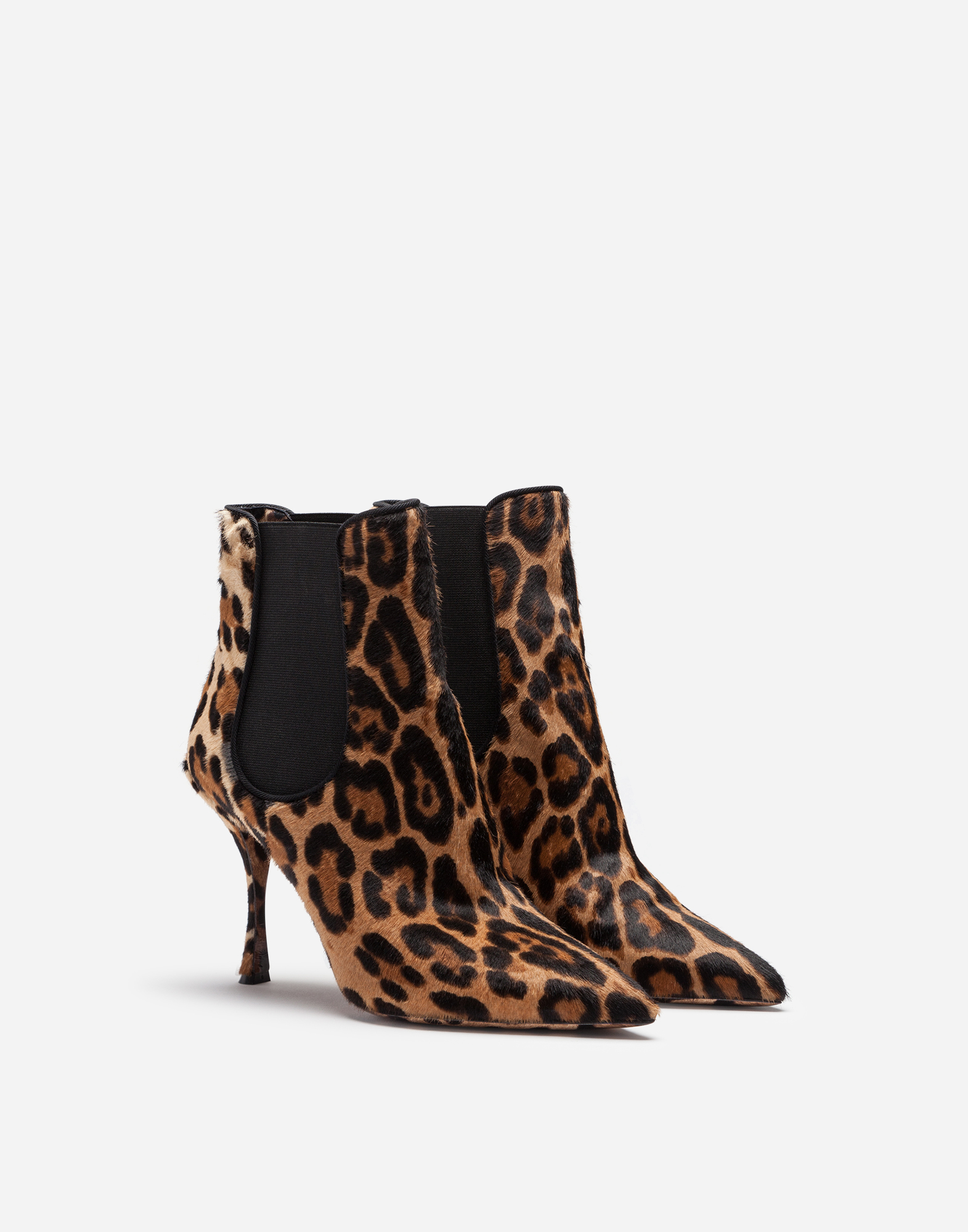 Dolce & Gabbana PONY ANKLE BOOT IN LEOPARD PRINT