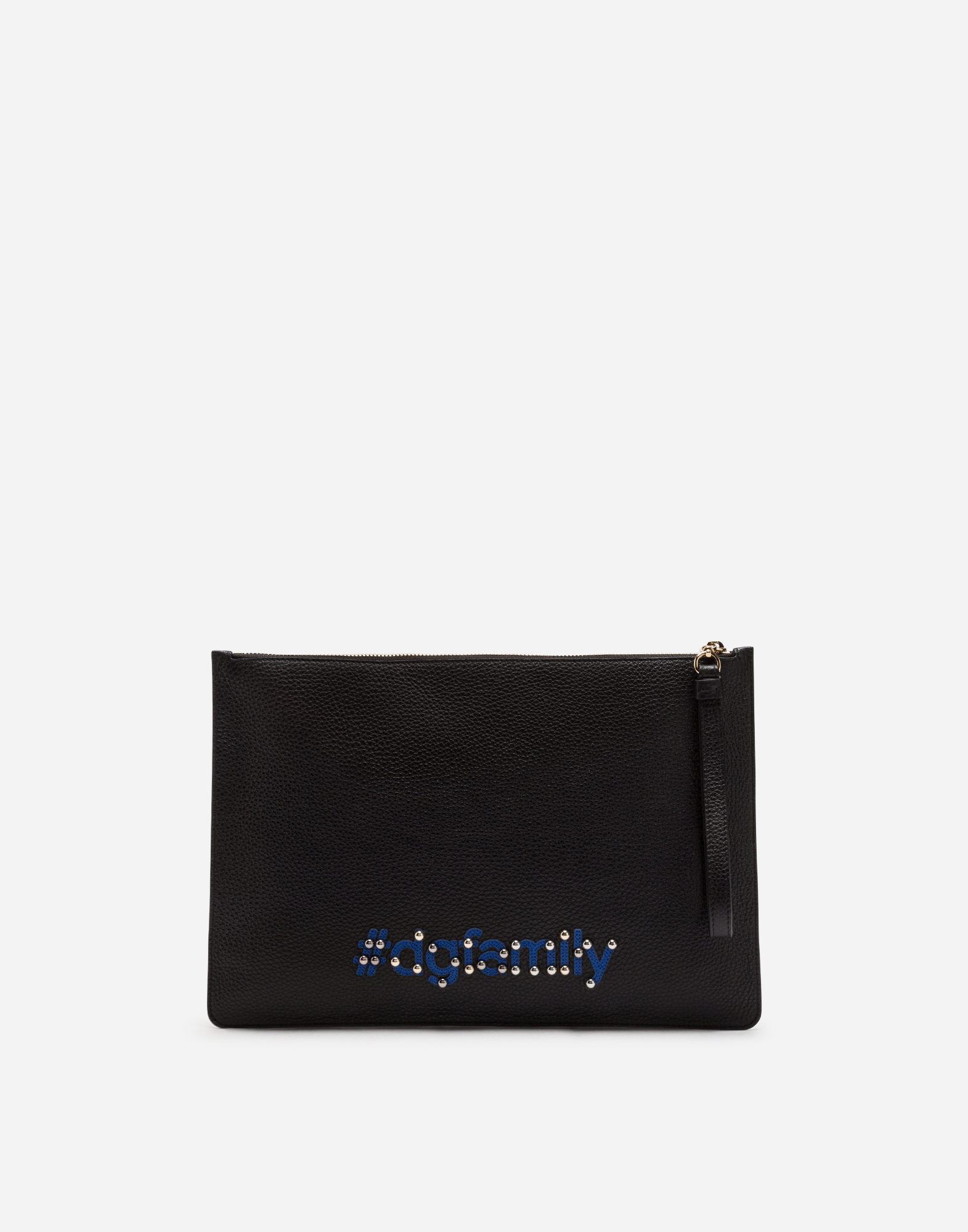 LARGE CLUTCH IN DRUMMED CALFSKIN WITH DESIGNERS' PATCHES