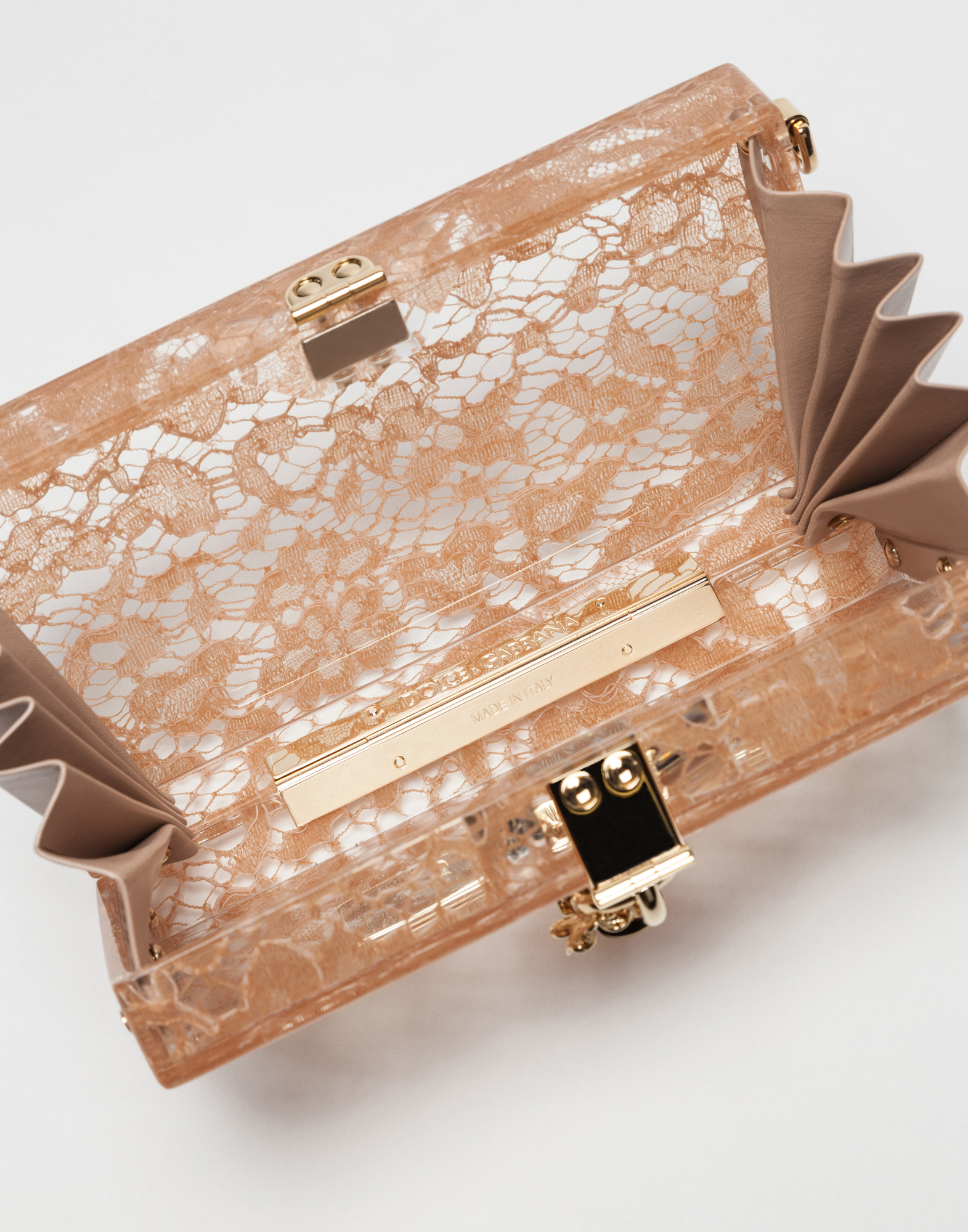 Dolce&Gabbana DOLCE BOX CLUTCH IN PLEXIGLASS AND LACE