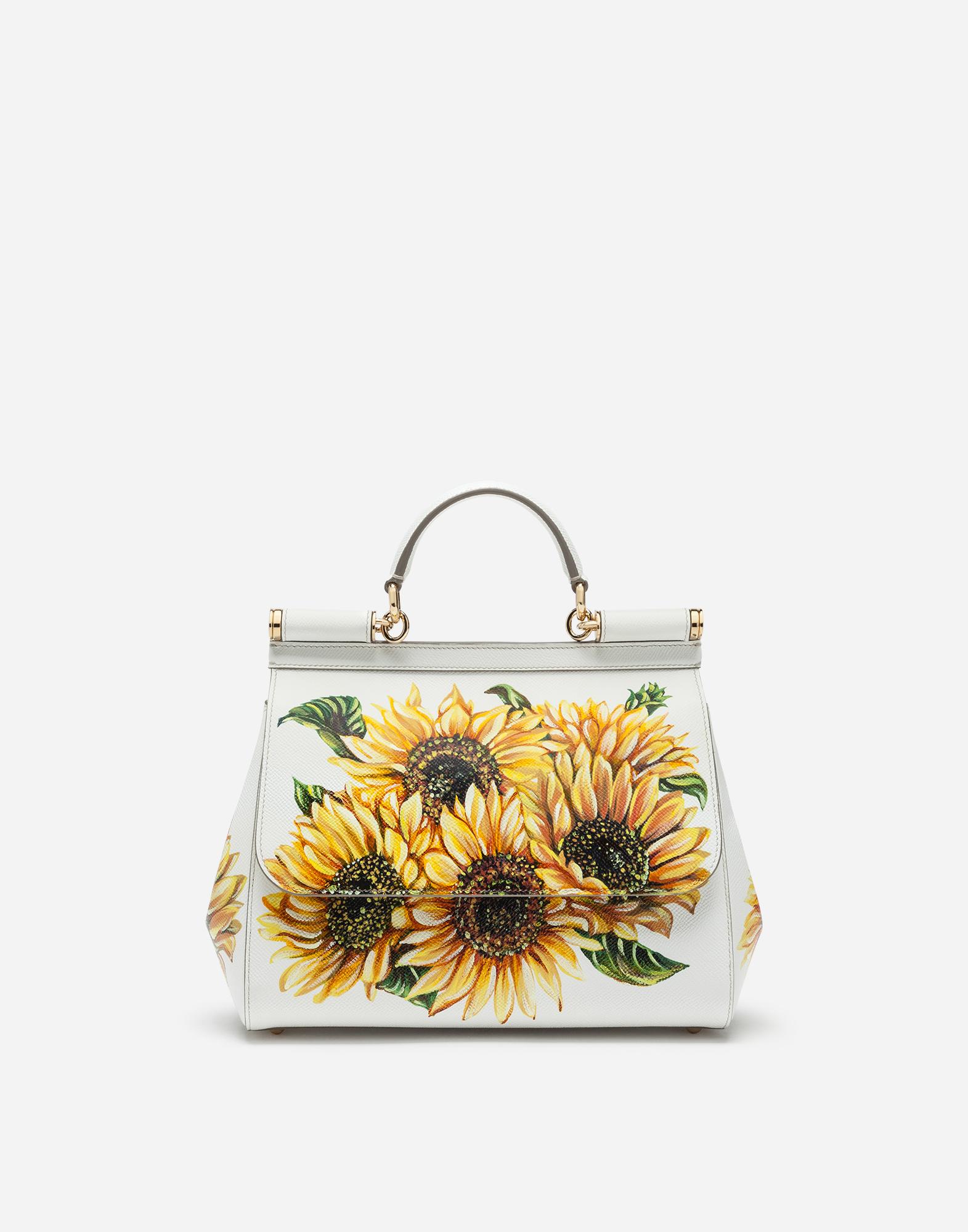 Dolce & Gabbana Medium Sicily Bag In Sunflower-Print Dauphine Calfskin In Floral Print