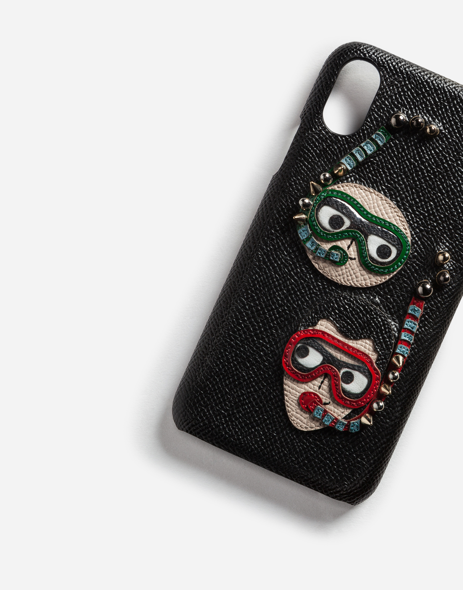 IPHONE X COVER IN DAUPHINE CALFSKIN WITH DIVER-STYLE PATCHES OF THE DESIGNERS