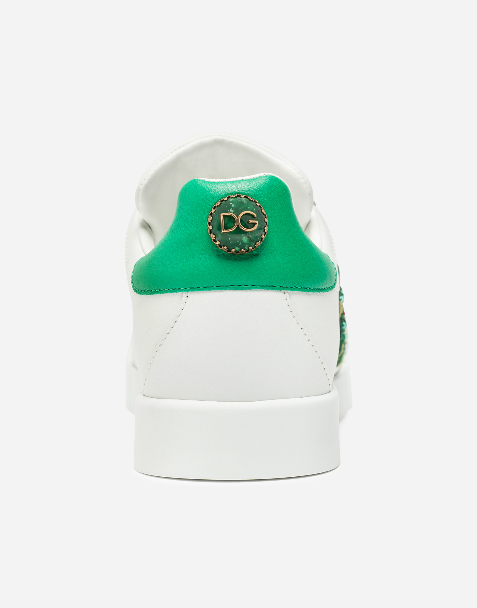 Dolce & Gabbana PORTOFINO LEATHER SNEAKERS WITH ROSE PATCH