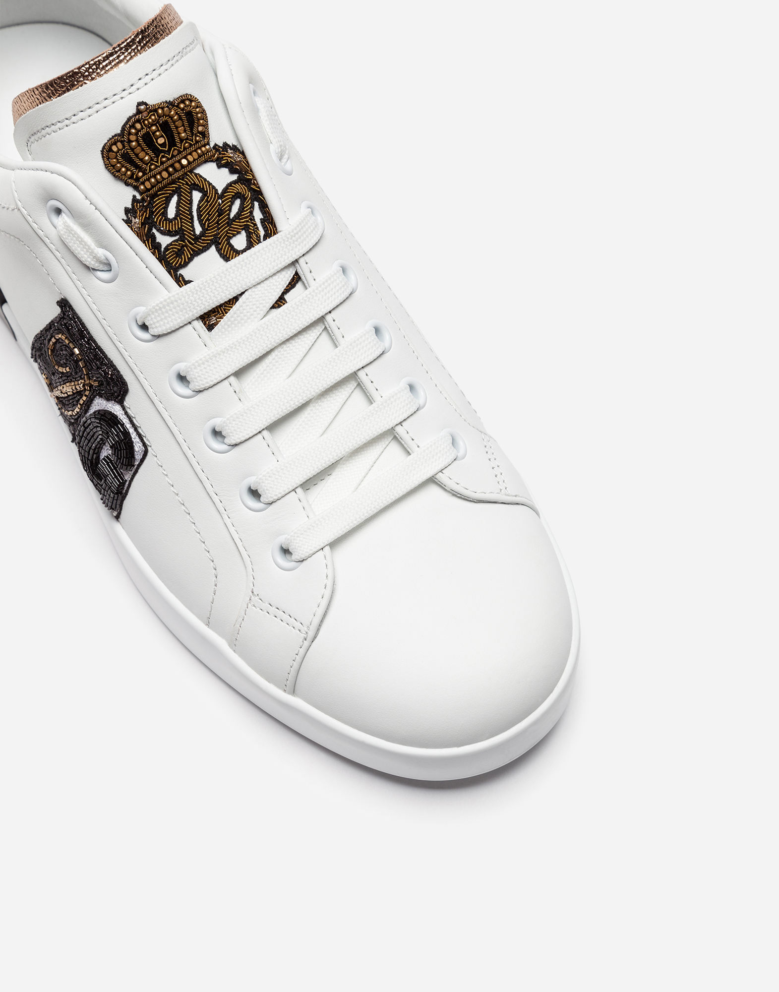 PORTOFINO SNEAKERS IN LEATHER WITH PATCH AND EMBROIDERY