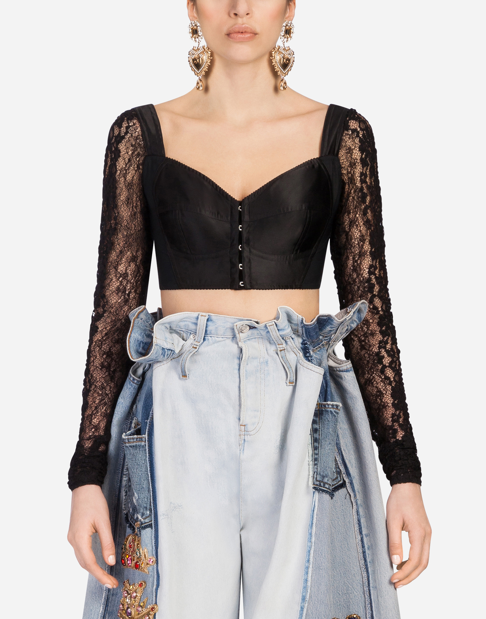 Dolce&Gabbana TOP IN SATIN AND LACE