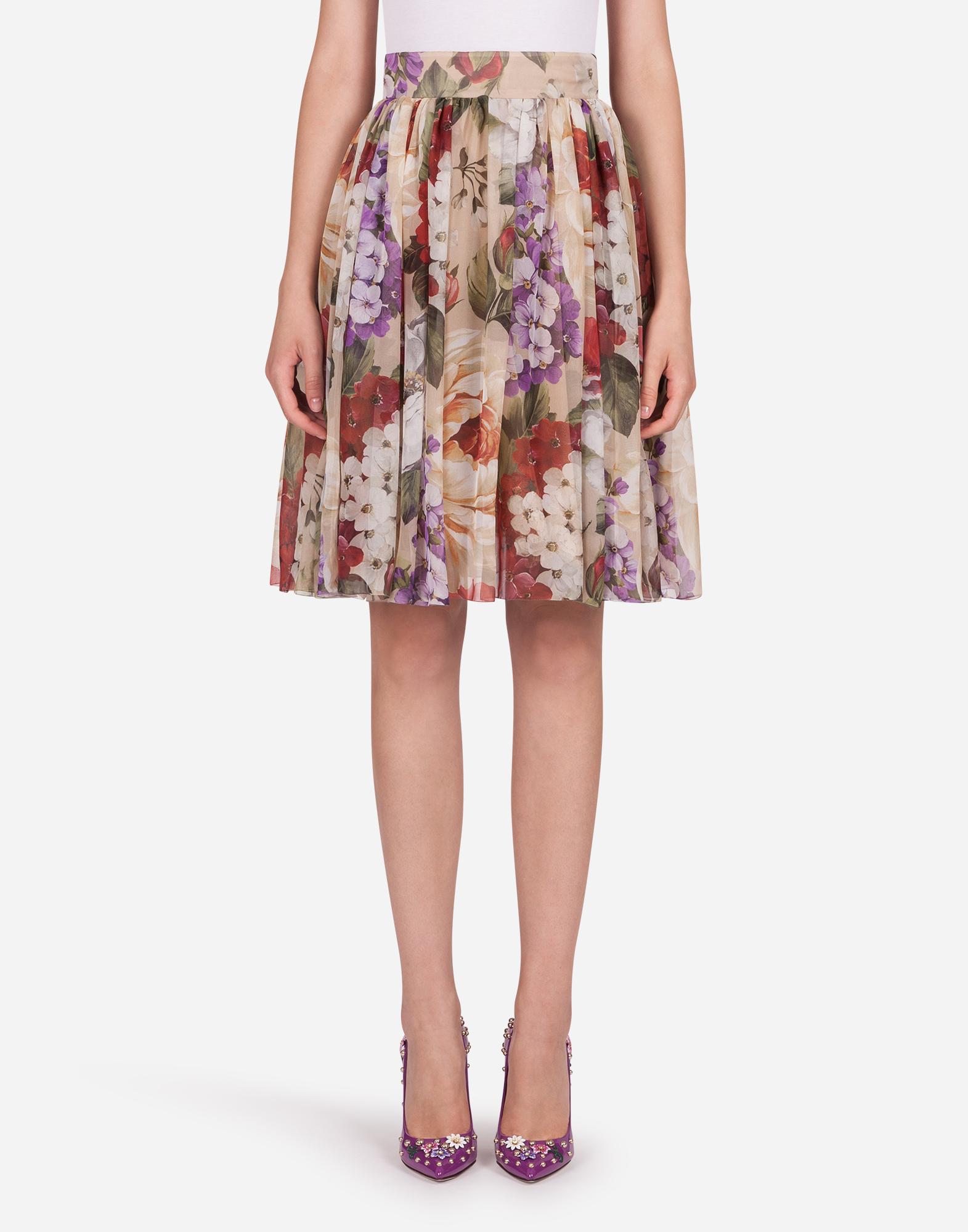 Dolce & Gabbana Floral-print Chiffon Midi Skirt In Floral Print