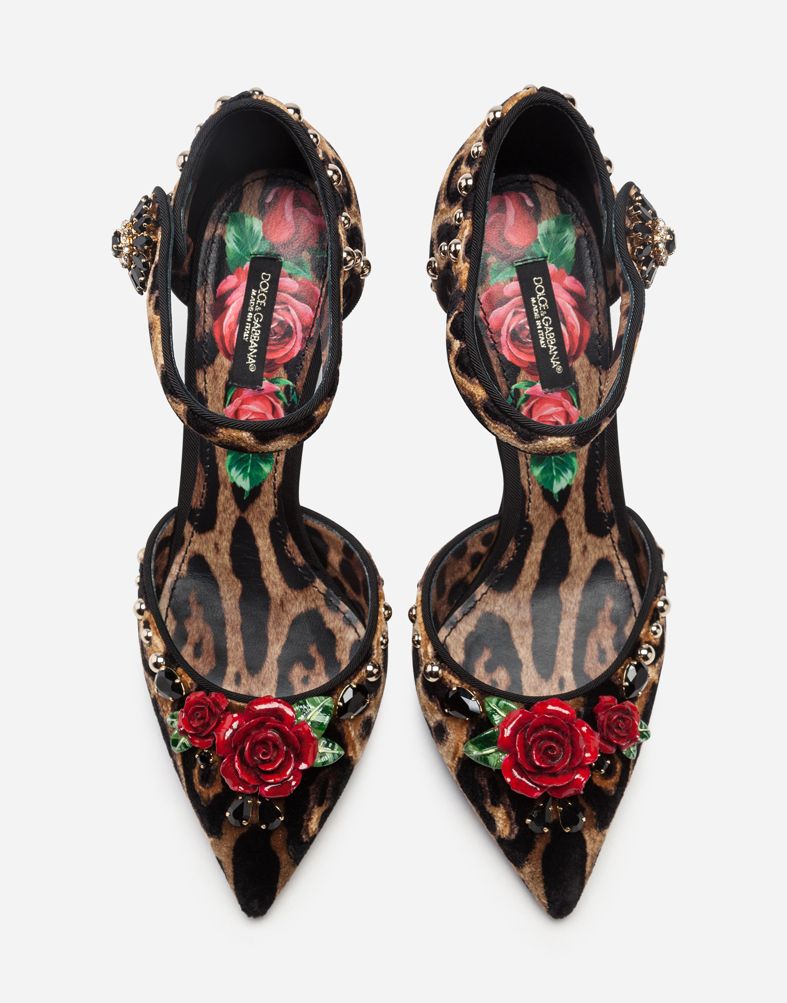 Dolce & Gabbana VELVET ANKLE-STRAP PUMPS WITH EMBROIDERY
