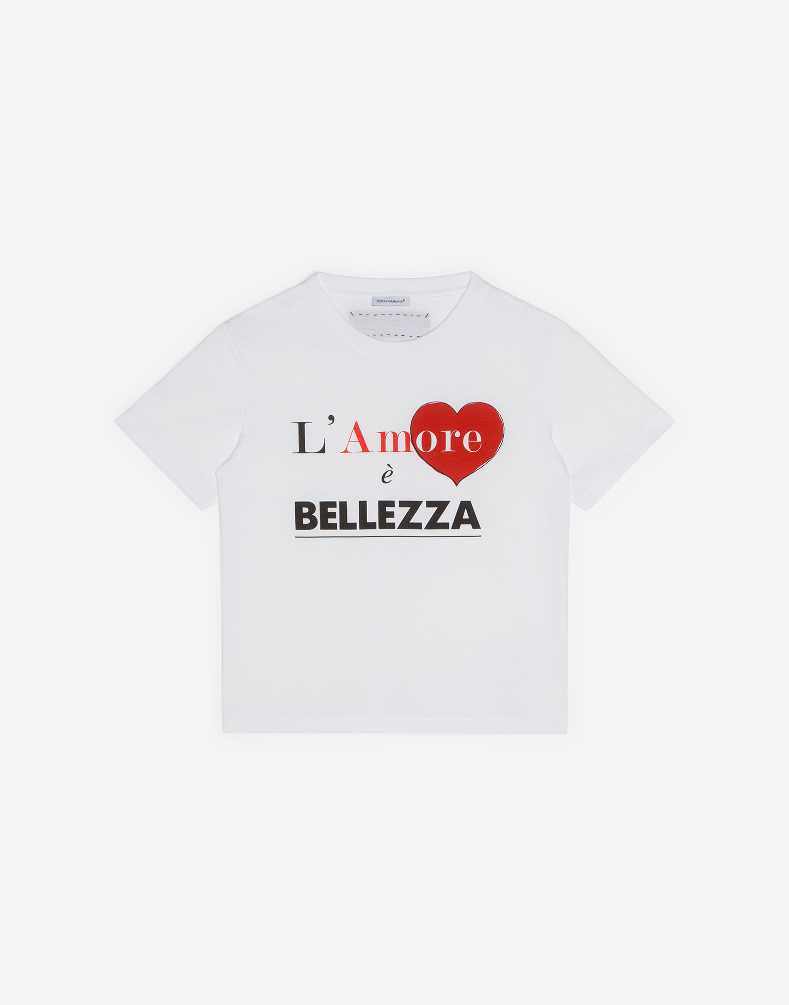 "T-SHIRT WITH ""L'AMORE E' BELLEZZA"" PRINT"