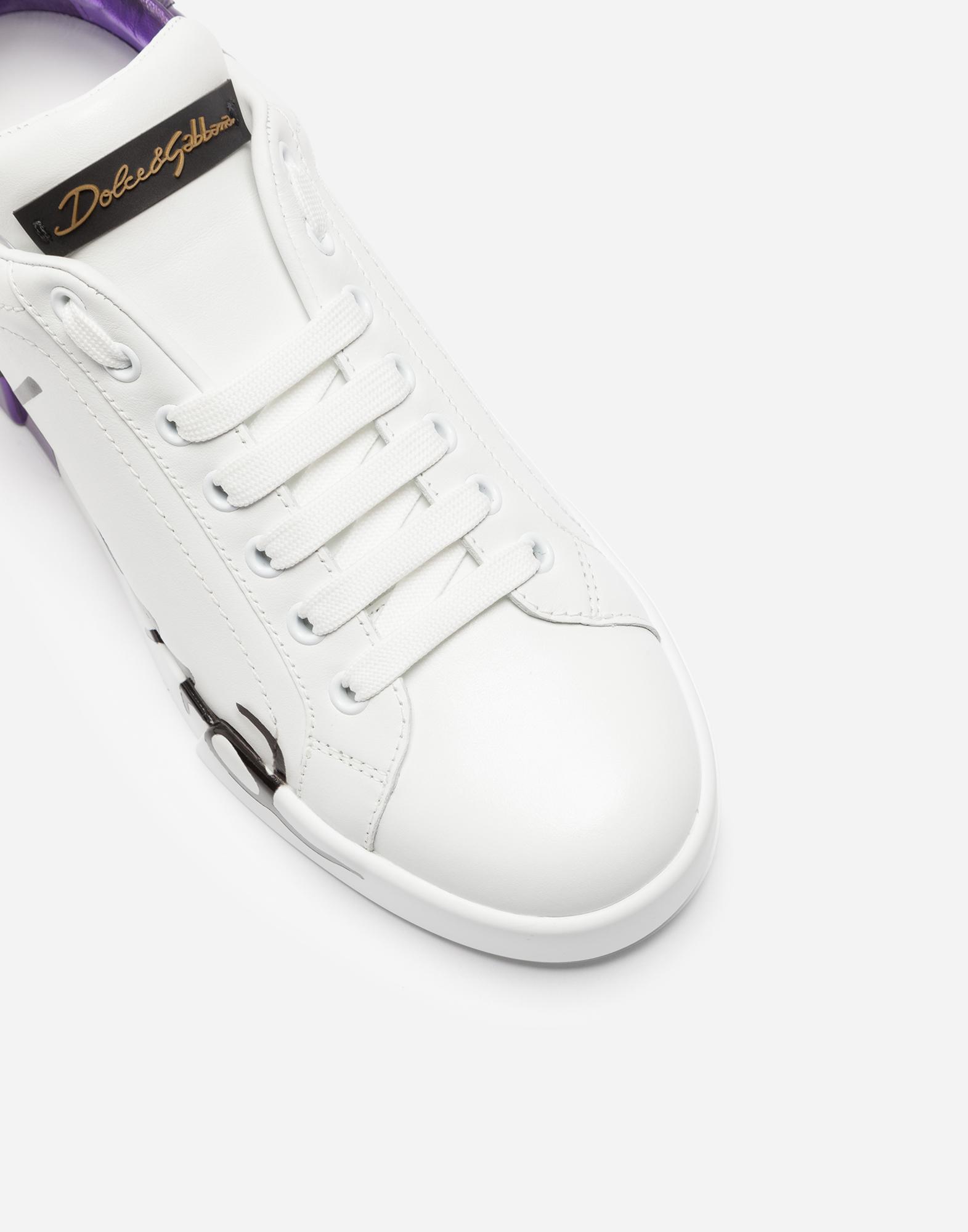 Dolce&Gabbana LEATHER PORTOFINO SNEAKERS WITH METALLIC HEEL