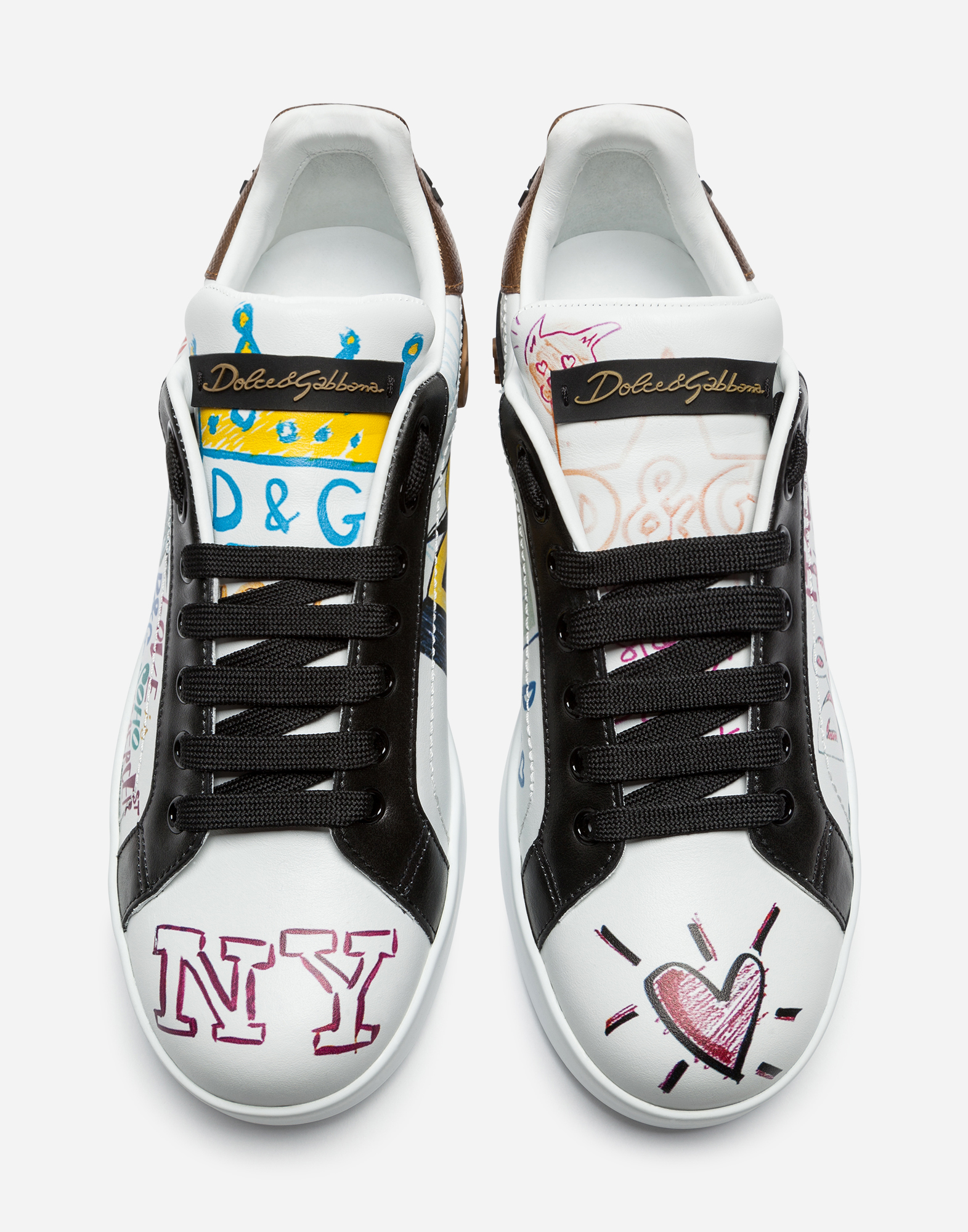 PORTOFINO SNEAKERS IN CALFSKIN WITH PATCH AND WRITING