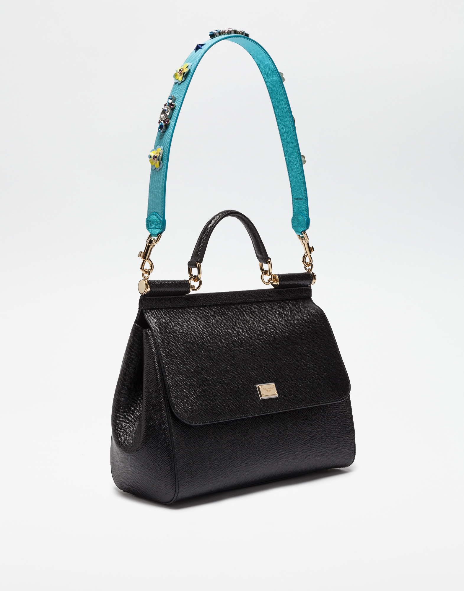 Dolce & Gabbana STRAP IN DAUPHINE LEATHER WITH APPLIQUÉS