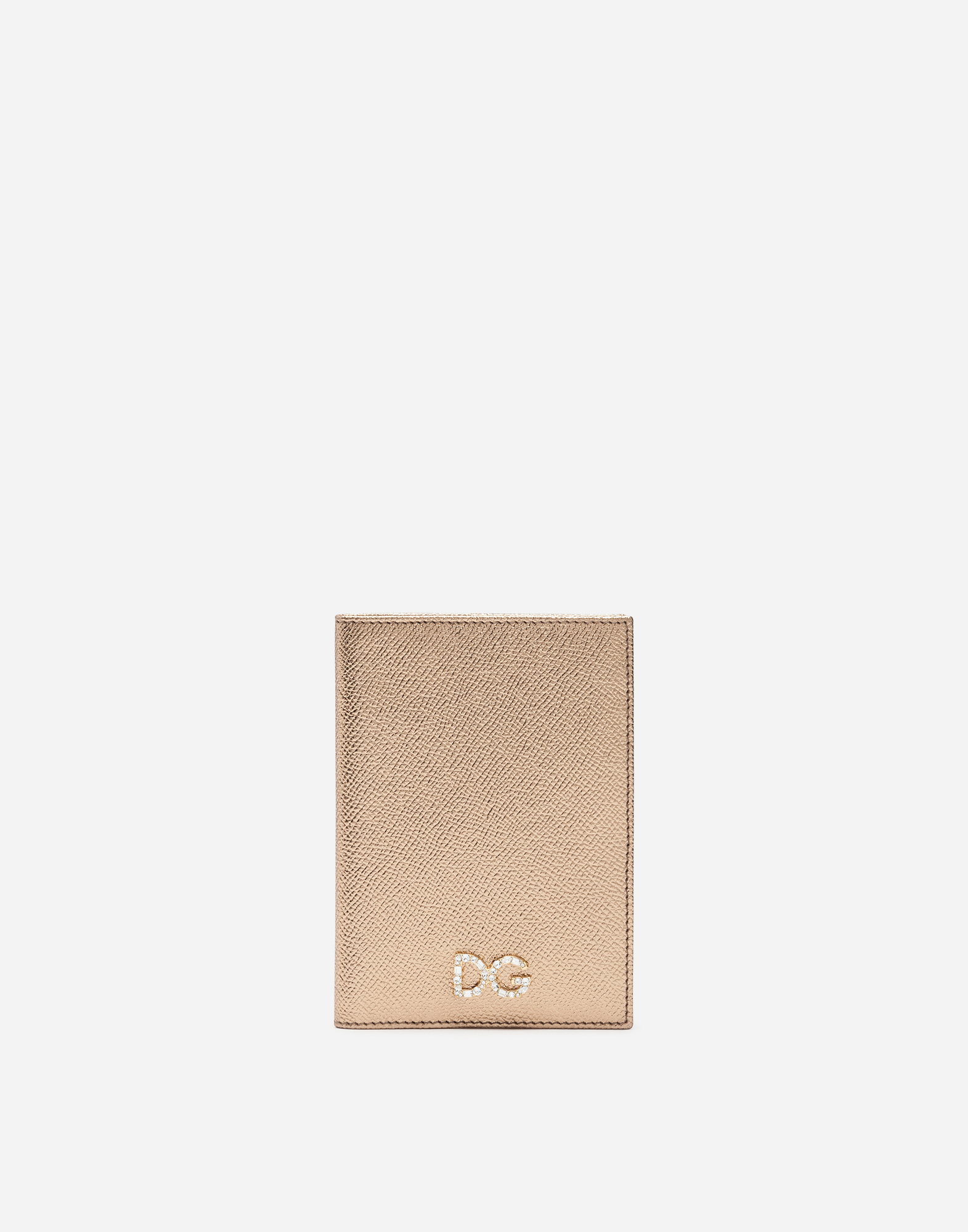 Dolce&Gabbana PASSPORT HOLDER IN LAMINATE DAUPHINE CALFSKIN WITH LOGO CRYSTALS