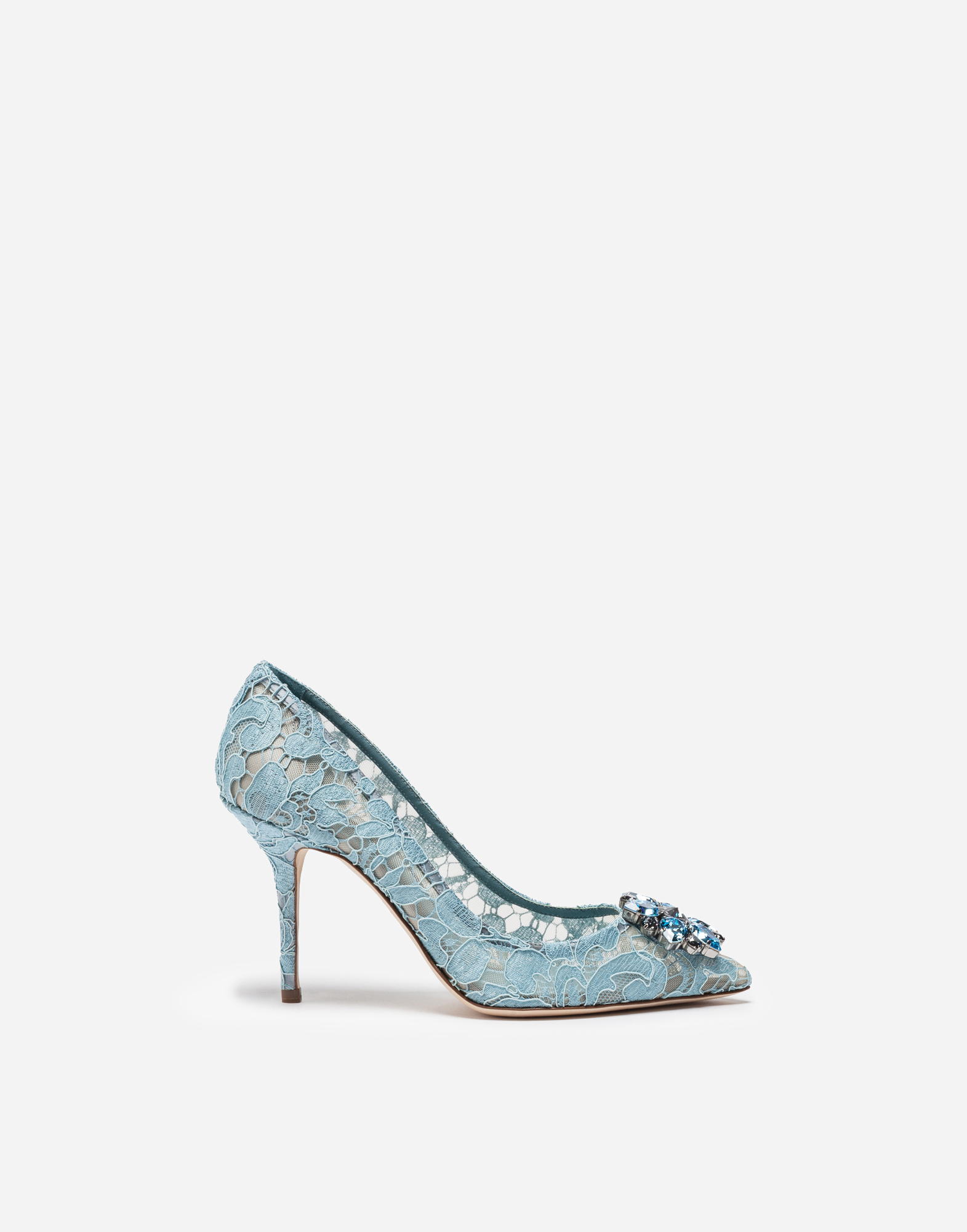 PUMPS IN TAORMINA LACE WITH CRYSTALS