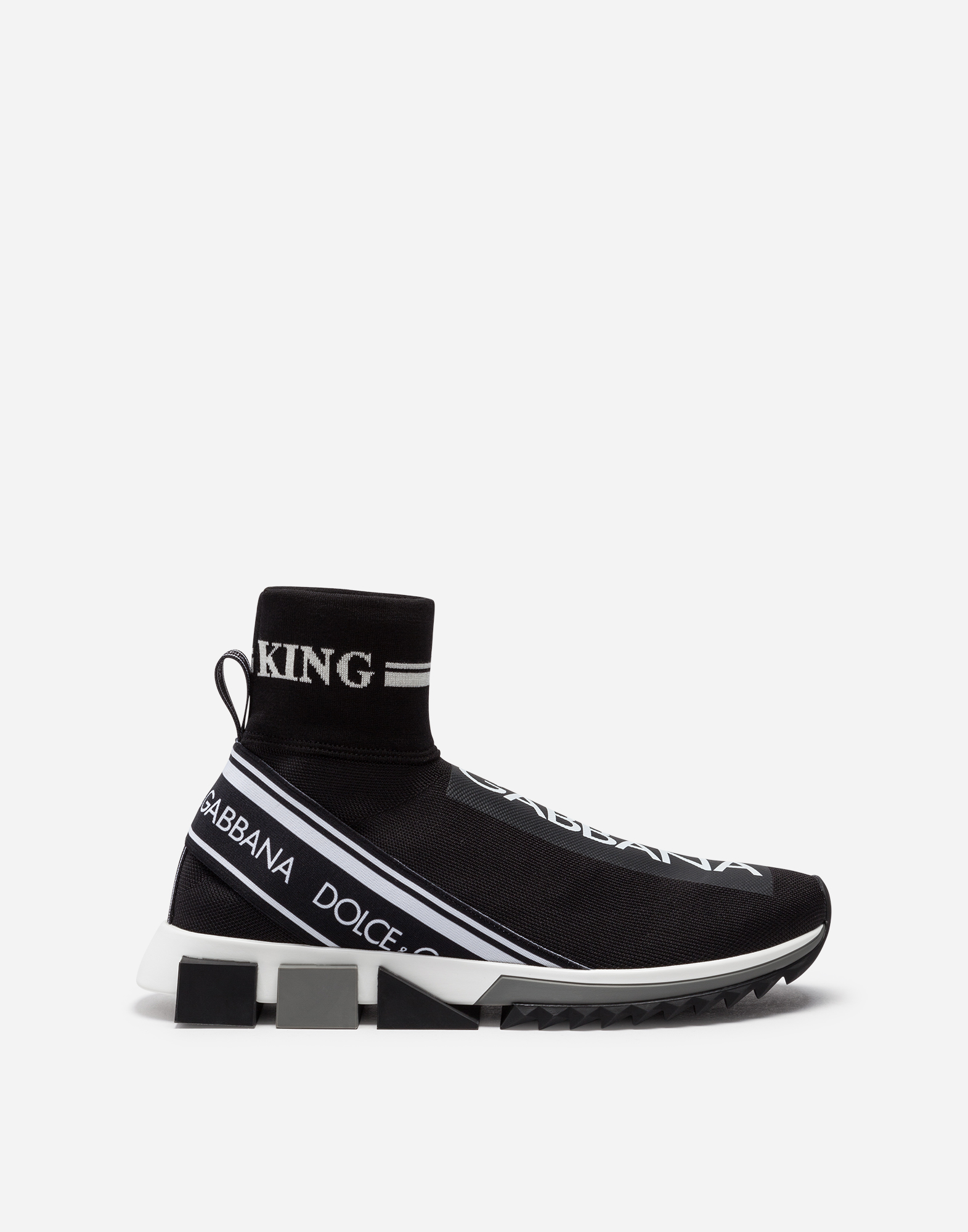 Dolce & Gabbana HIGH-TOP SORRENTO SNEAKERS IN STRETCH MESH WITH LOGO