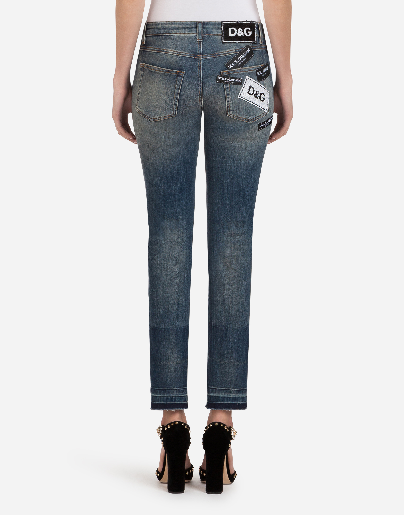 Dolce & Gabbana DENIM STRETCH FIT PRETTY JEANS WITH PATCH LABEL
