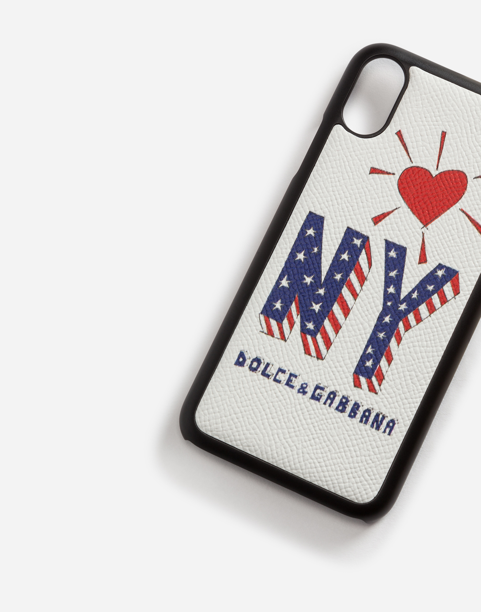 Dolce&Gabbana IPHONE X COVER WITH PRINTED DAUPHINE CALFSKIN DETAIL