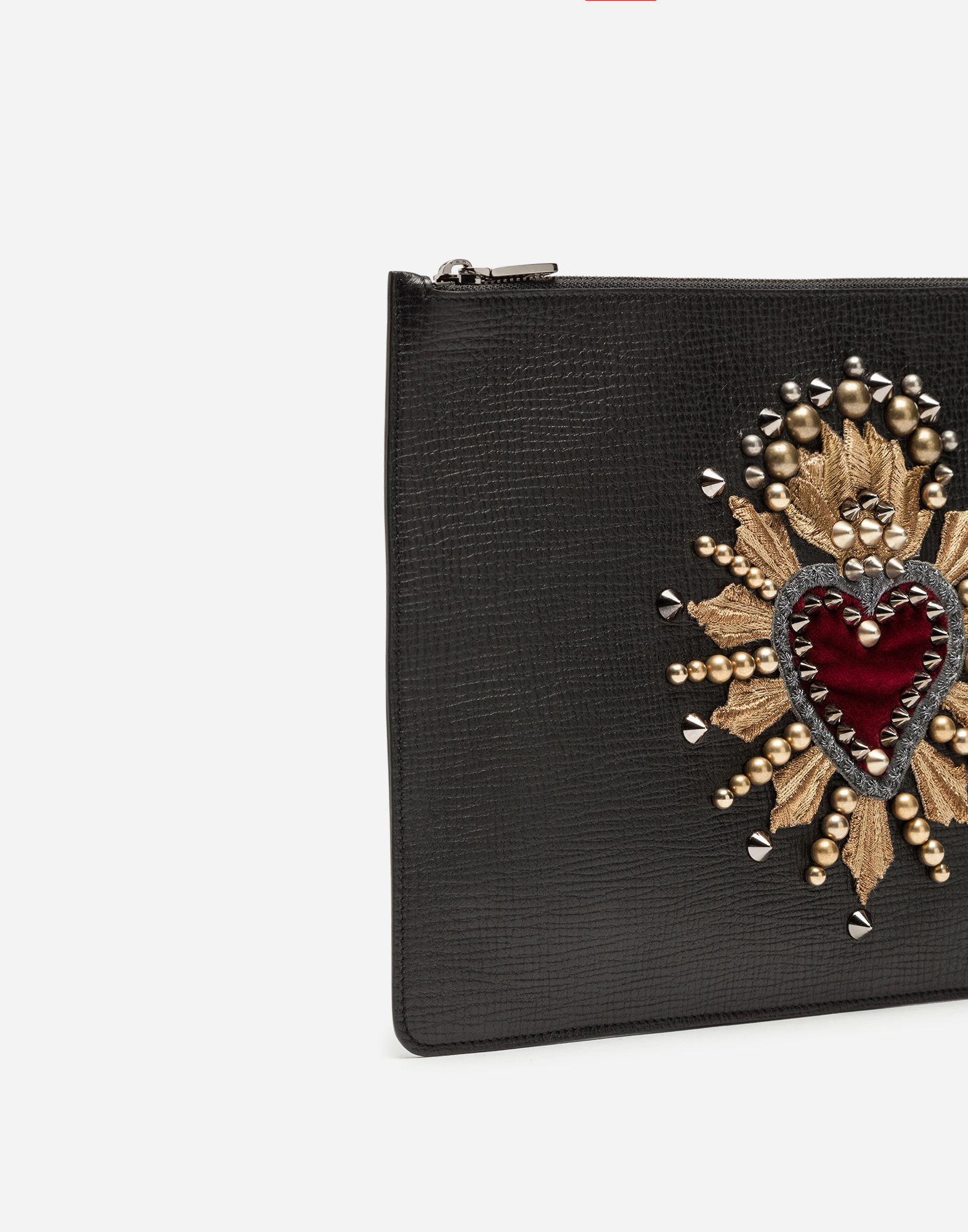 Dolce&Gabbana CALFSKIN DOCUMENT HOLDER WITH HEART PATCH
