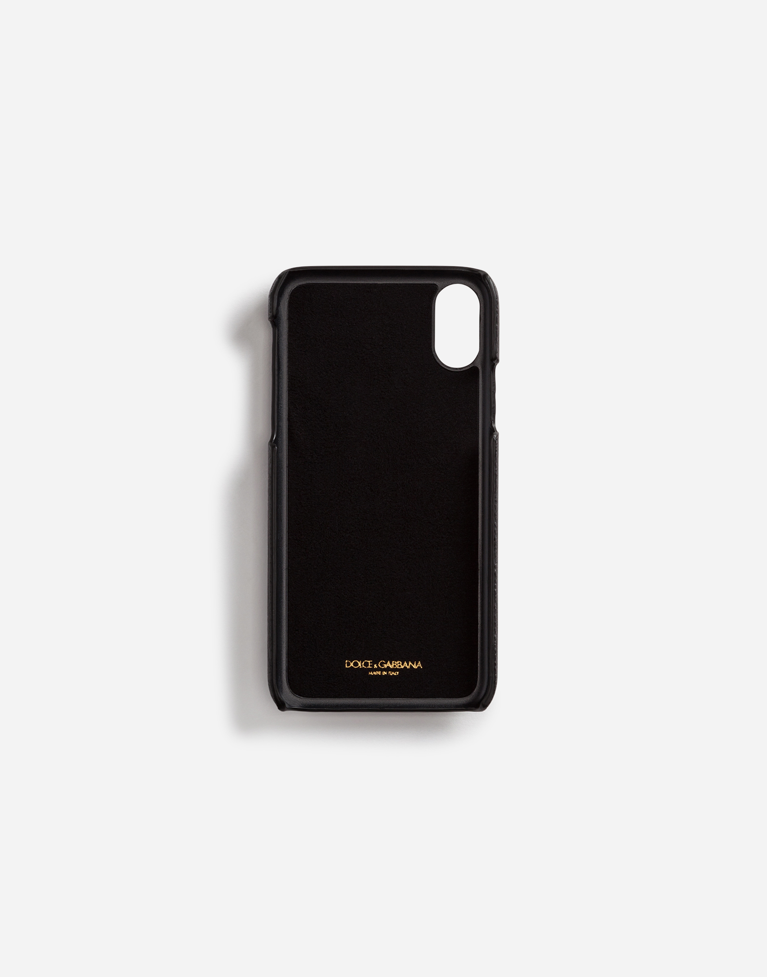 Dolce & Gabbana IPHONE X COVER IN DAUPHINE CALFSKIN WITH DESIGNERS' PATCHES