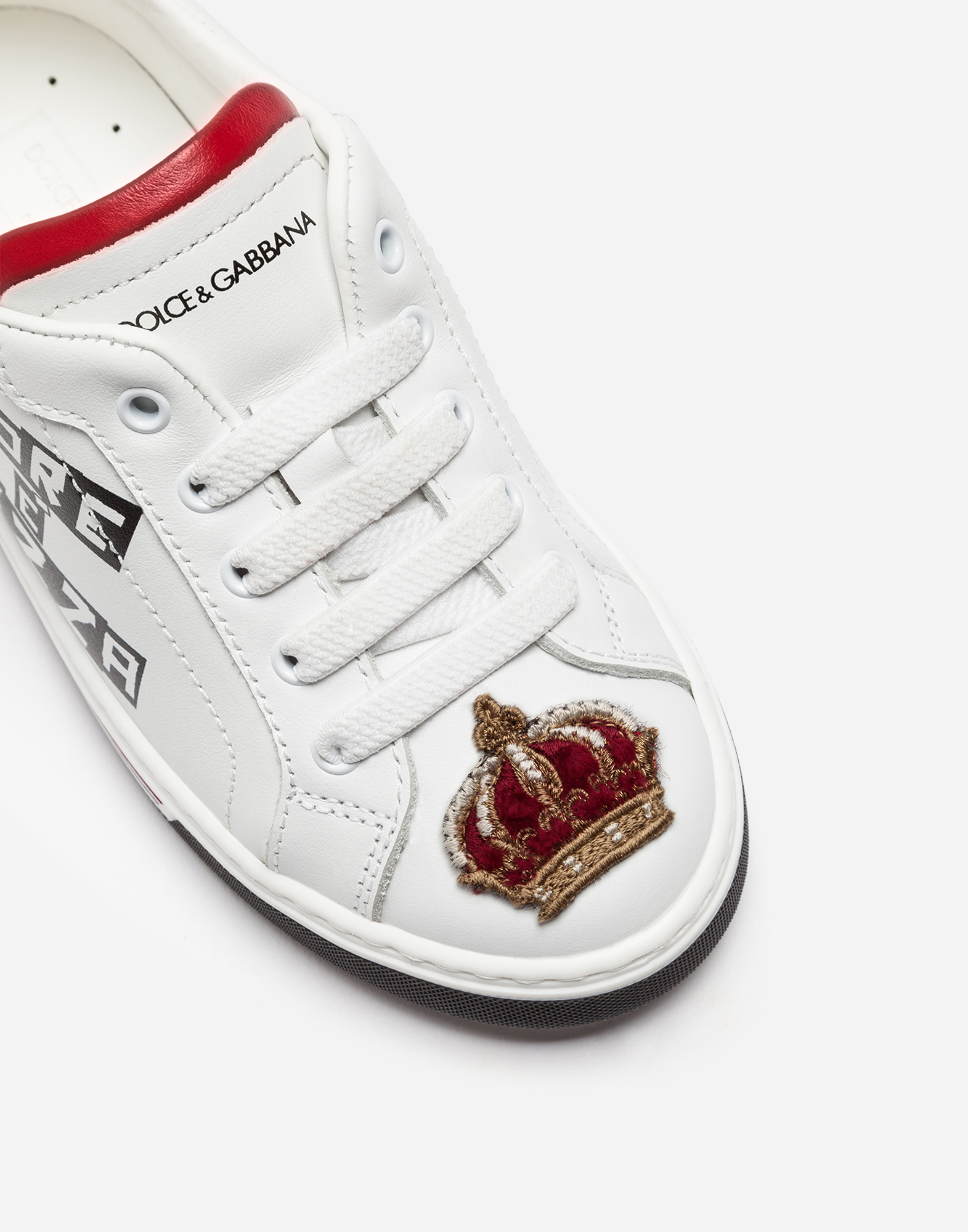 Dolce & Gabbana LEATHER SNEAKERS WITH PRINT