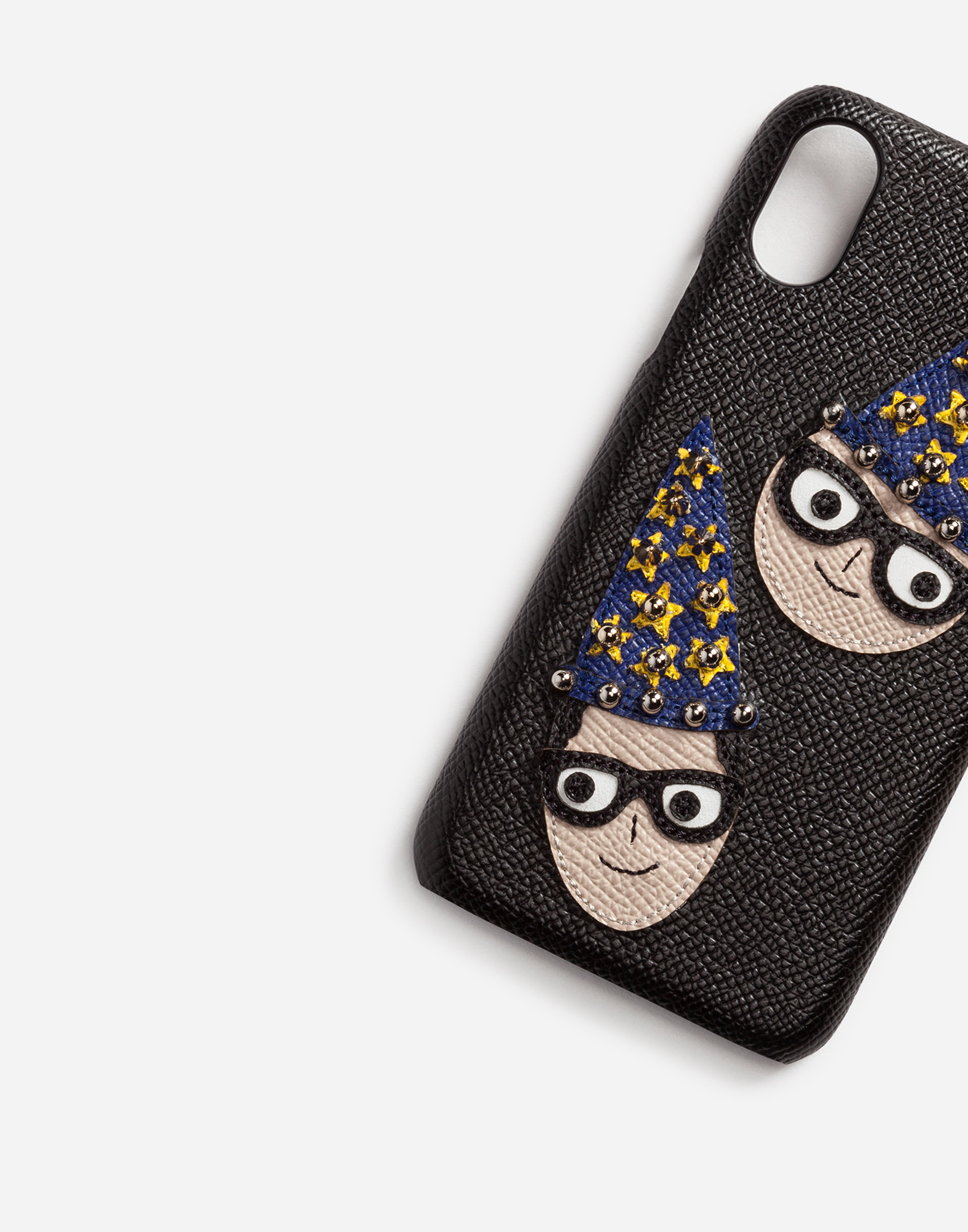 IPHONE X COVER IN DAUPHINE CALFSKIN WITH DESIGNERS' PATCHES